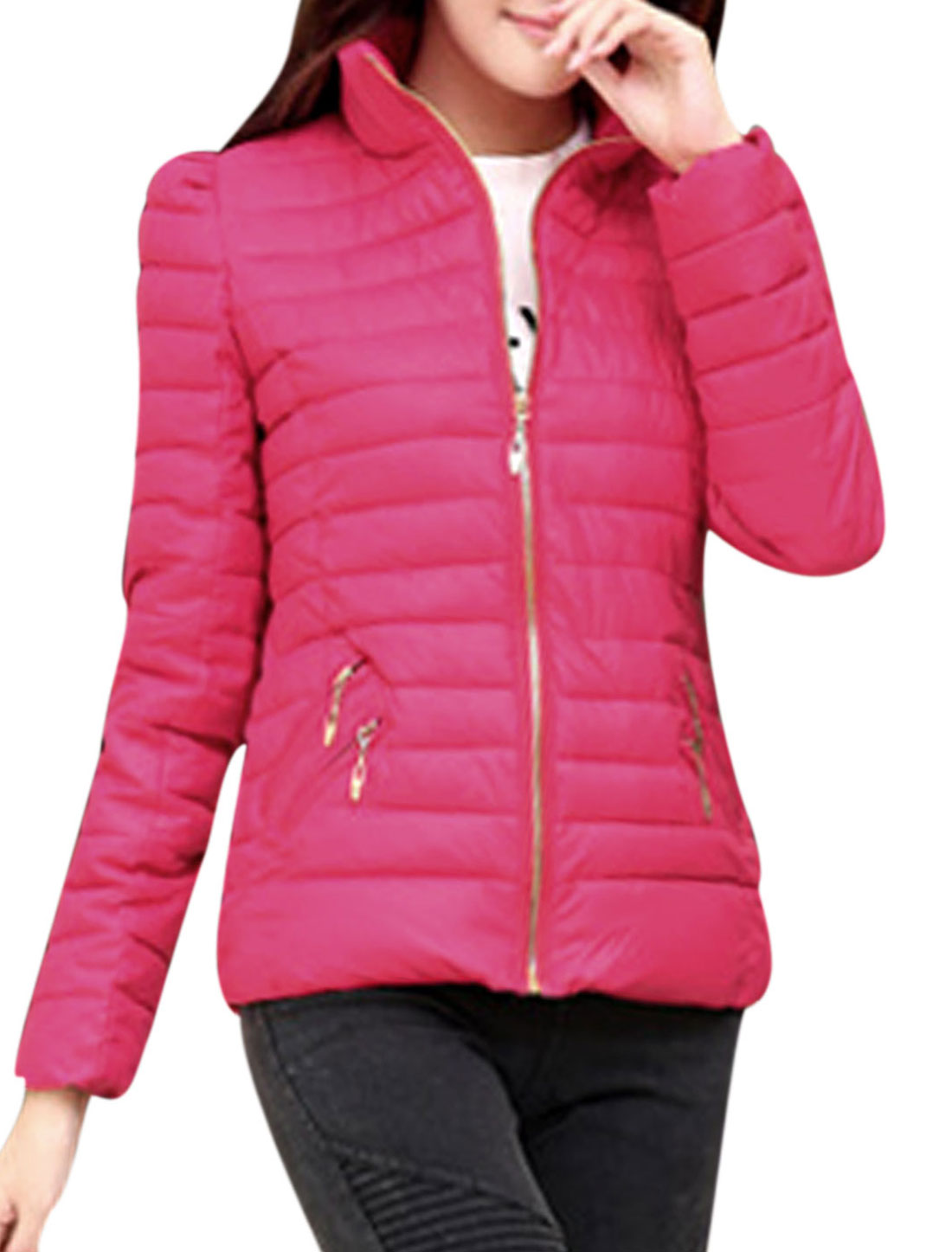 Cozy Fit Fashion Zipper Closed Pockets Front Padded Coat for Lady Fuchsia M
