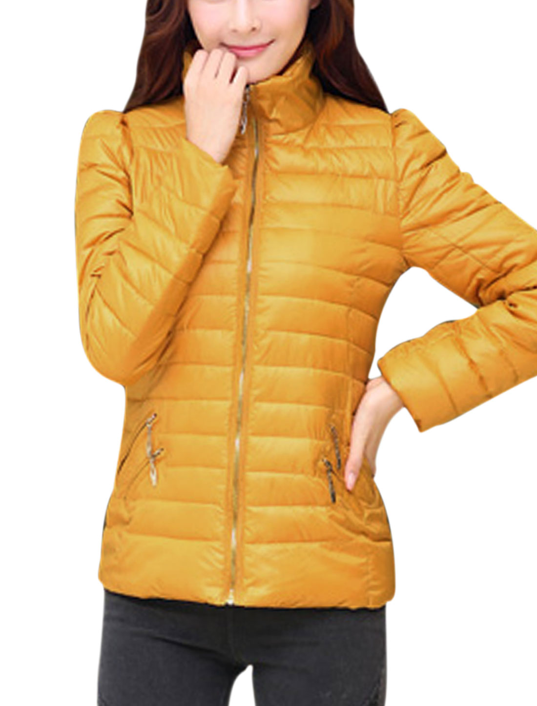 Lady Zipper Decor Back Stand Collar Leisure Padded Coat Orange Yellow M