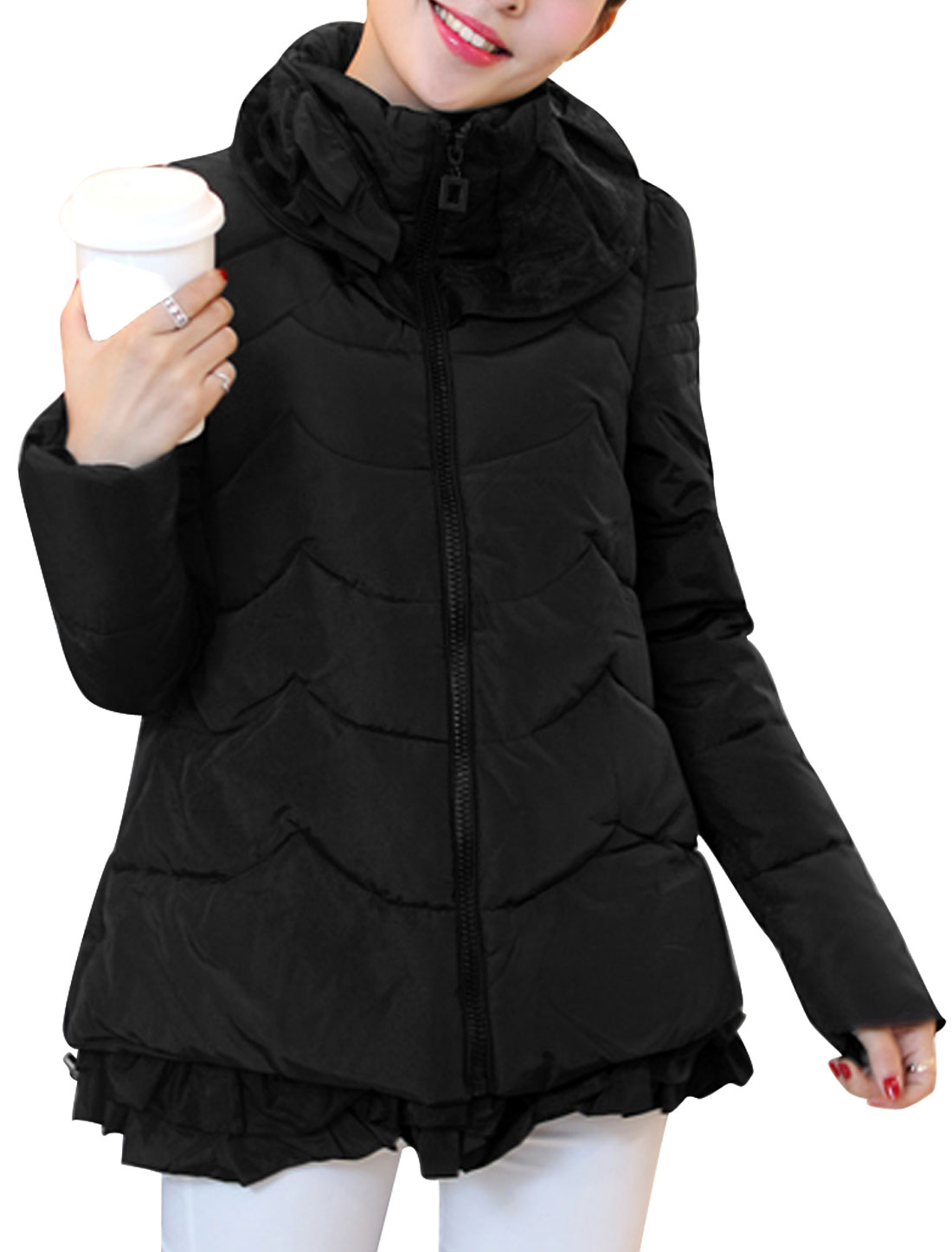 Lady Convertible Collar Zip Up Side Pockets Ruffles Hem Down Jacket Black M