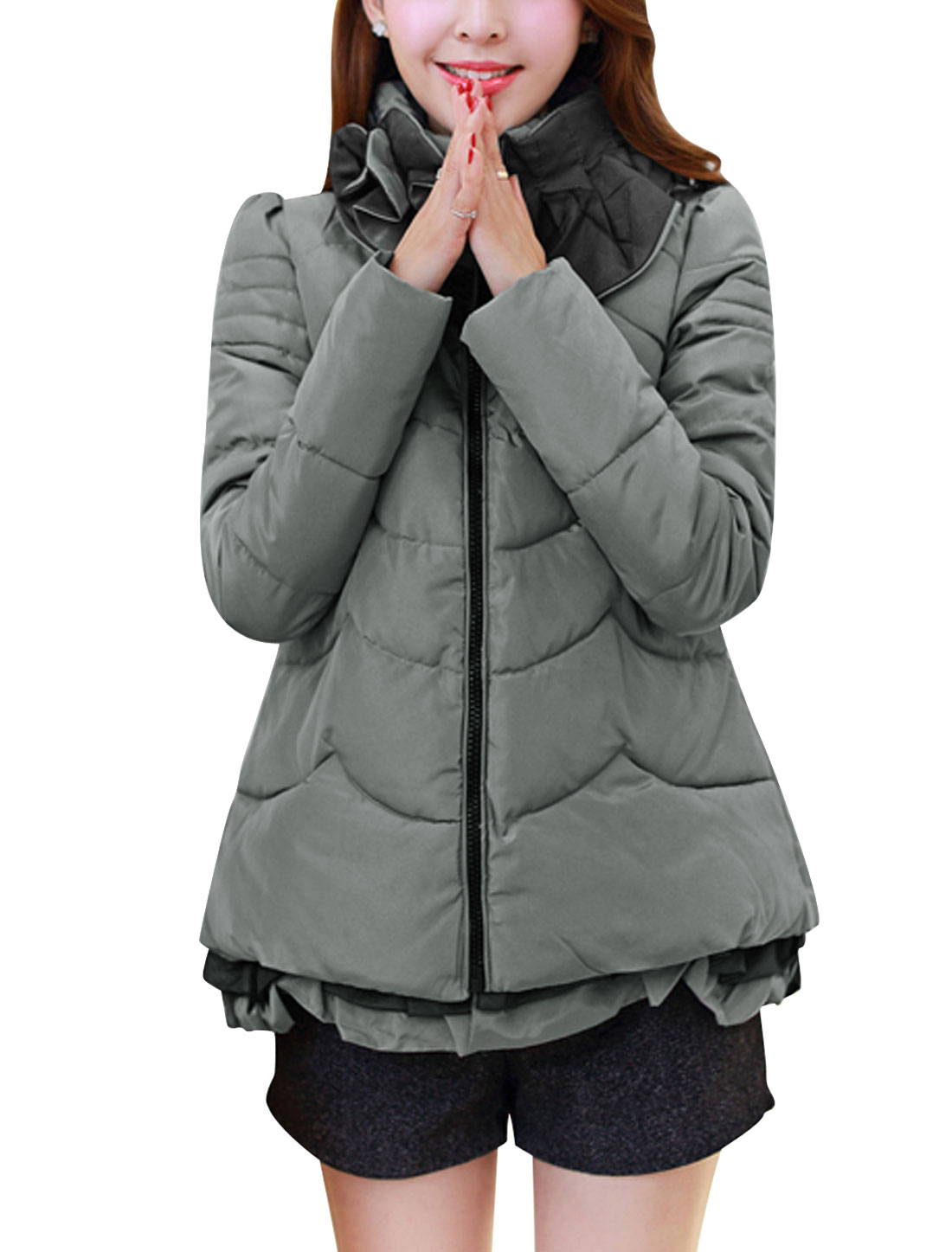 Women Flower Design Collar Zip-Up Side Pockets Down Jacket Gray Silver M
