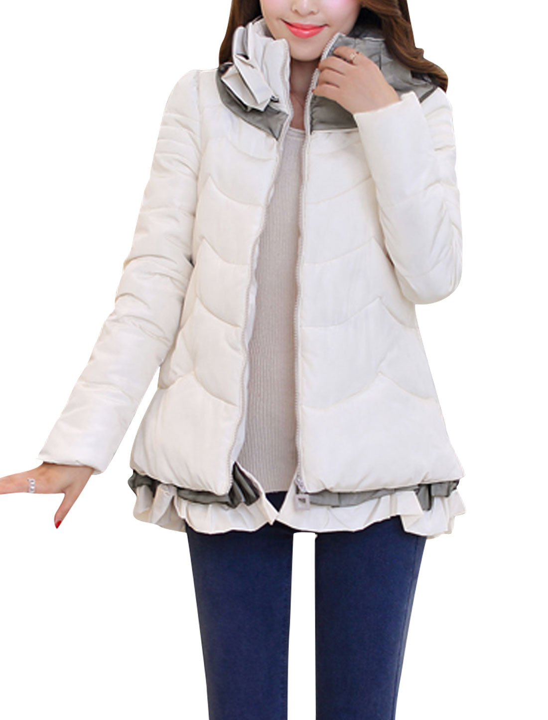 Lady Zipper Closure Double Side Pockets Ruffles Hem Down Jacket Beige M