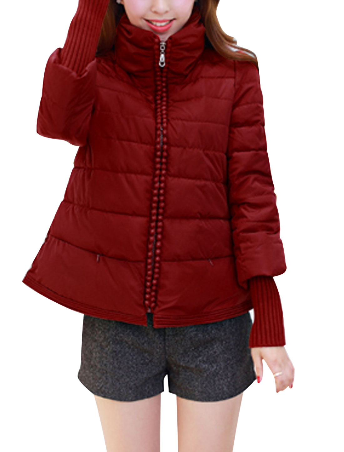 Women Zip Up Ribbed Cuff Panel Beads Decor Down Jacket Burgundy M