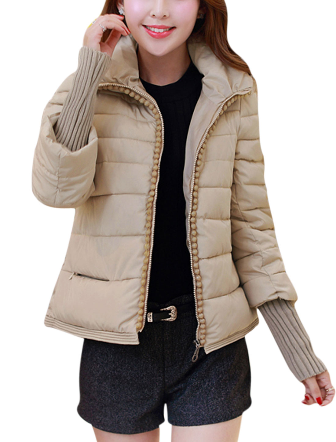 Women Fashion Style Zip Up Beads Decor Casual Down Jacket Beige M
