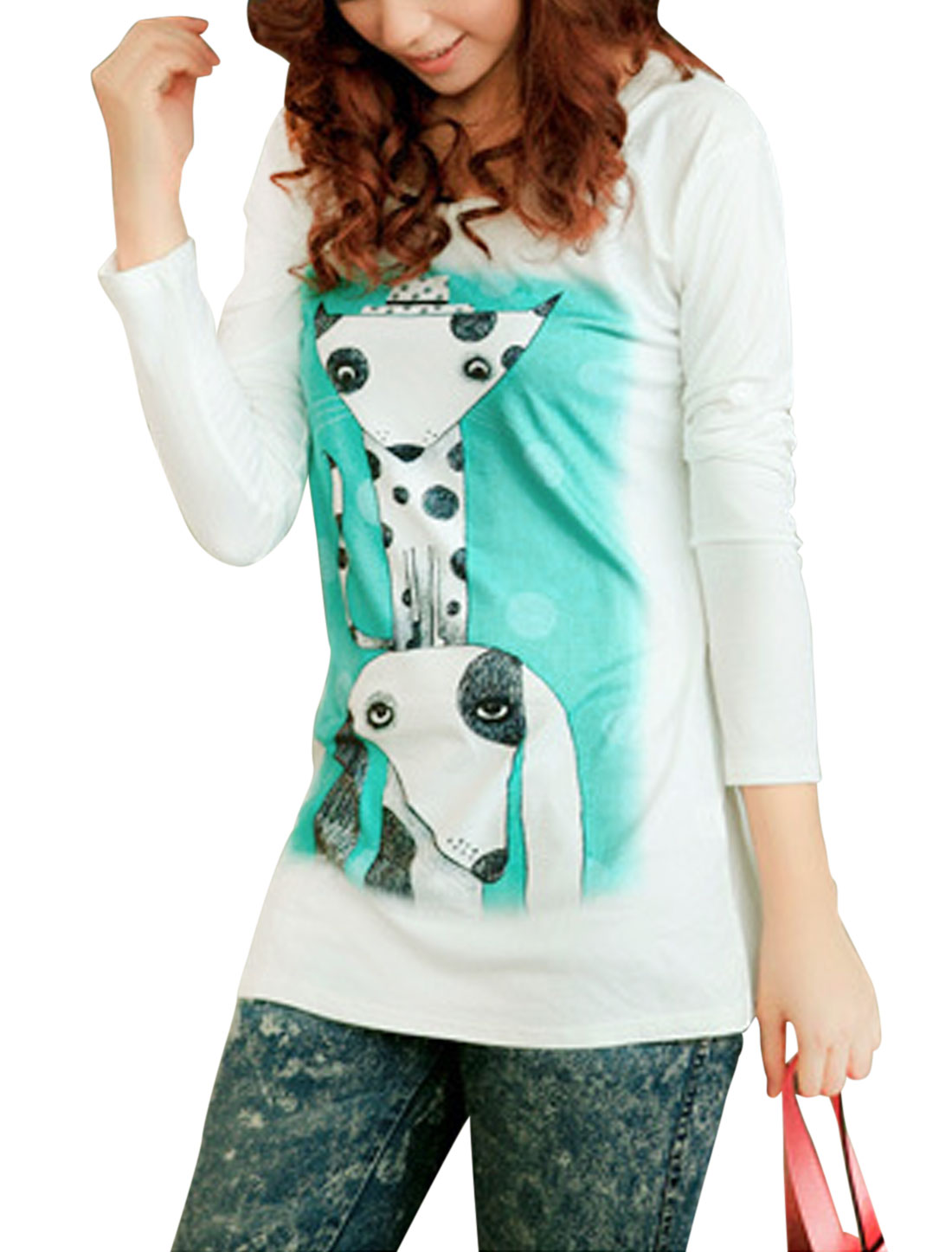 Lady Round Neck Animal Pattern Pullover Casual Tunic Shirt White XS