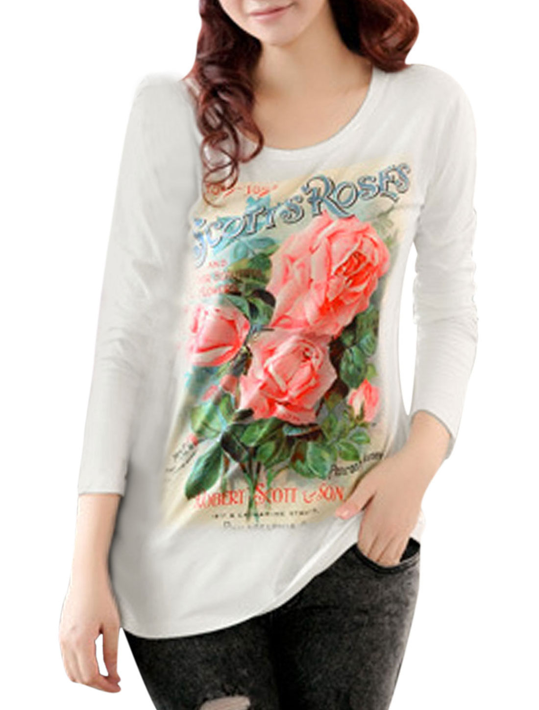 Women Letters Floral Pattern Round Neck Long Sleeve Casual T-shirt White XS