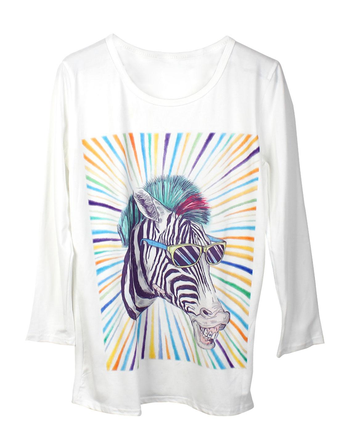 Women Long Sleeves Round Neck Animal Pattern Tunic Shirt White XS
