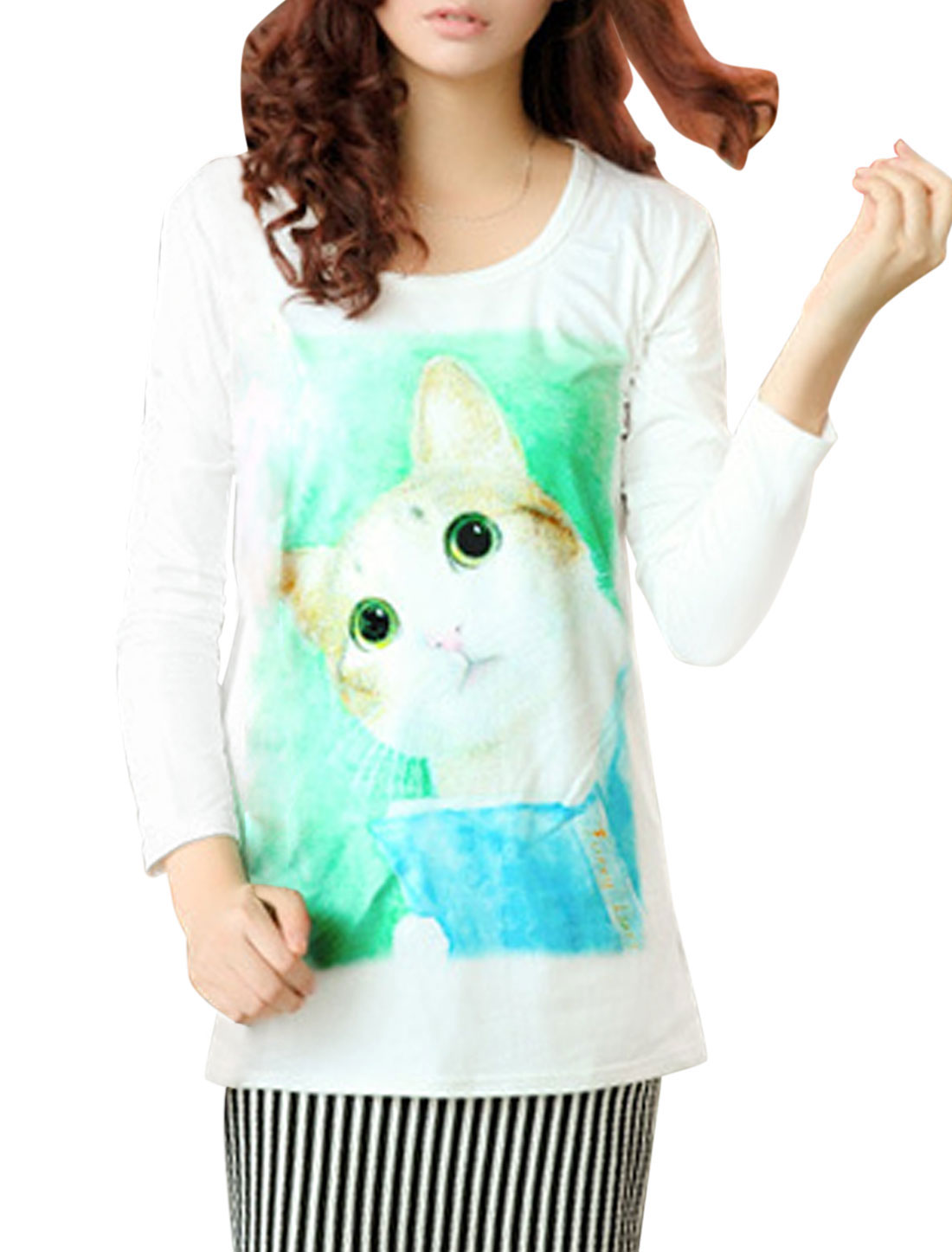 Lady Round Neck Animal Pattern Long Sleeve Tunic Top White/XS (US 2)