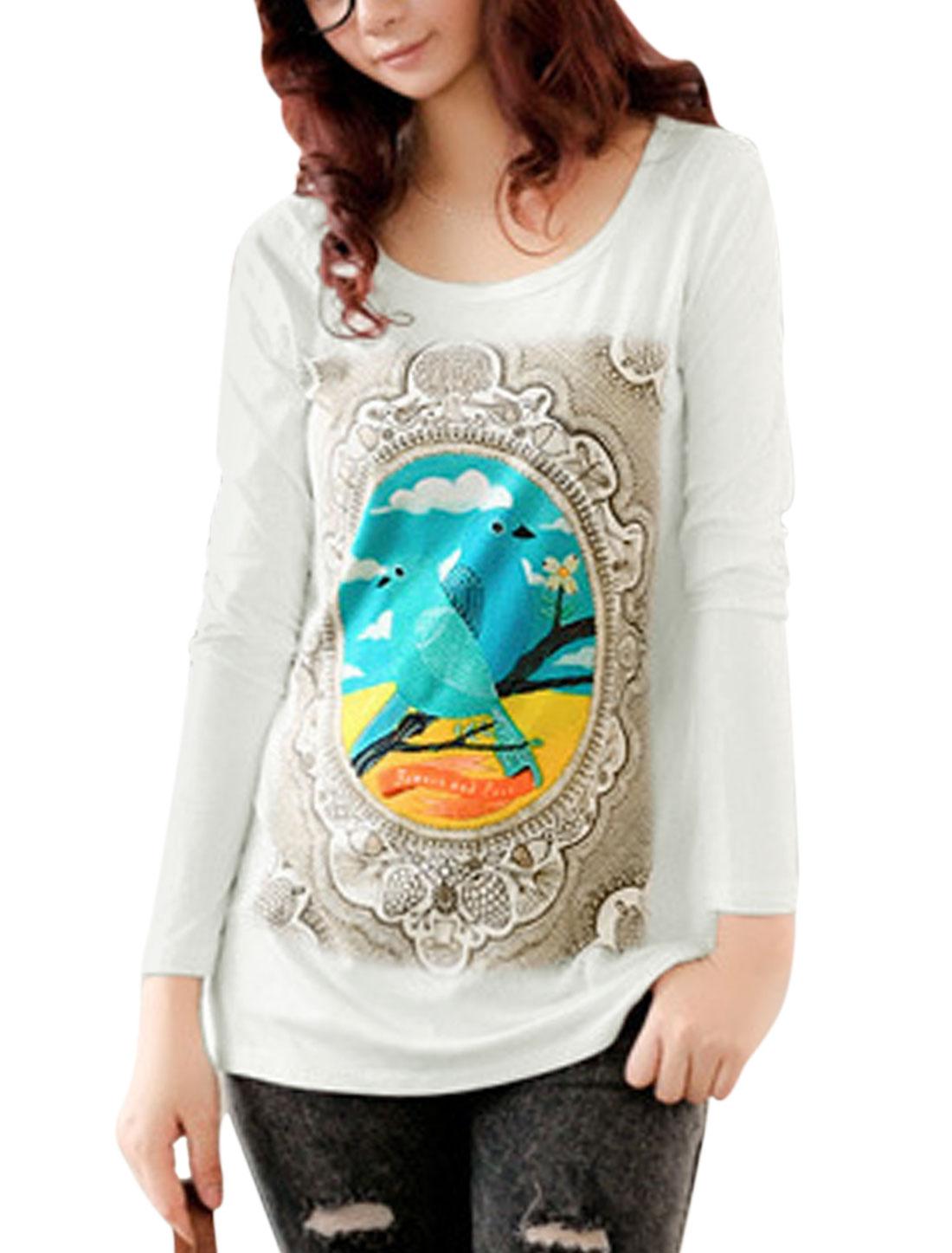 Lady Round Neck Bird Pattern Fashion Slim Fit Casual Top White XS