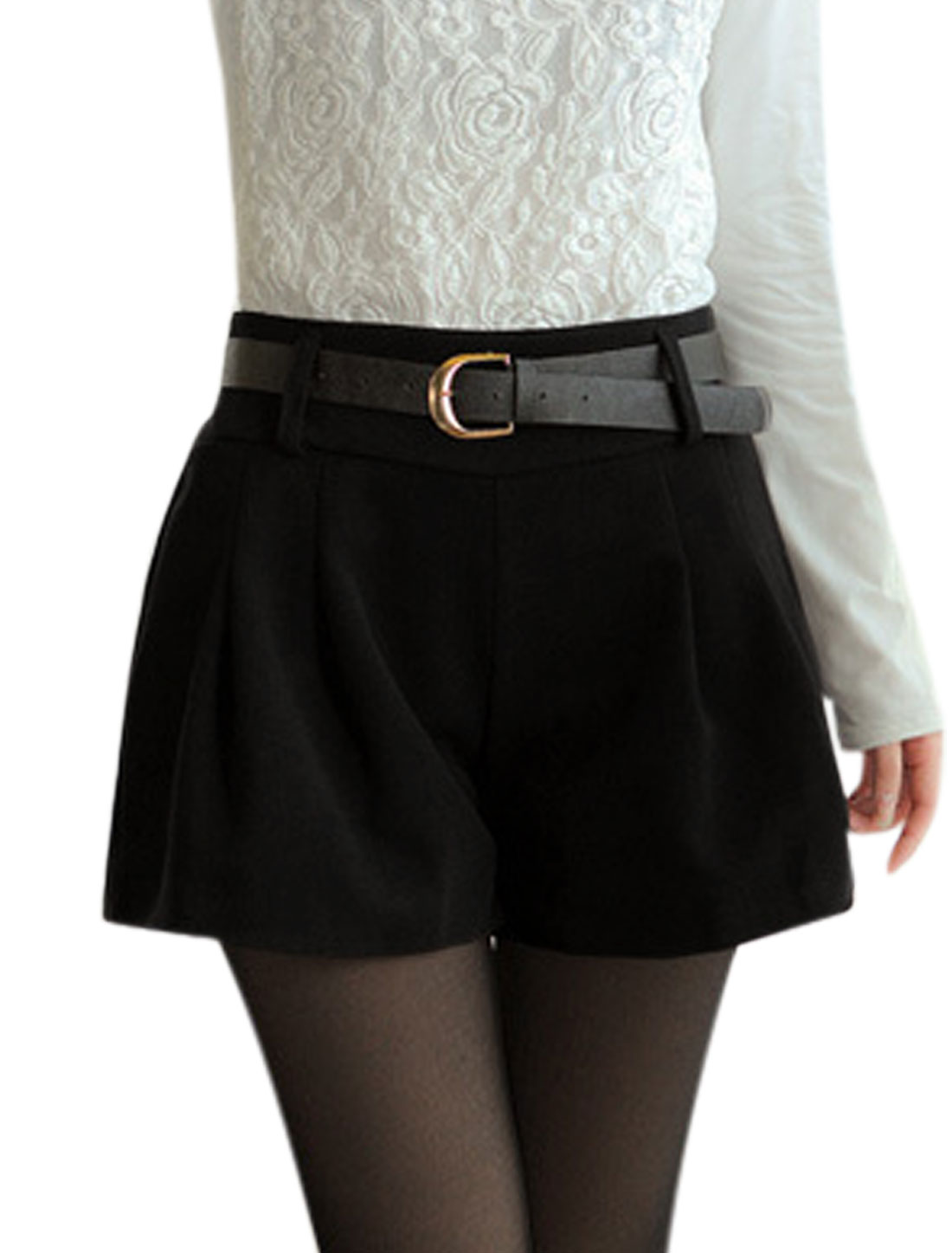 Women Elastic Waist Design Chic Worsted Shorts w Belt Black S