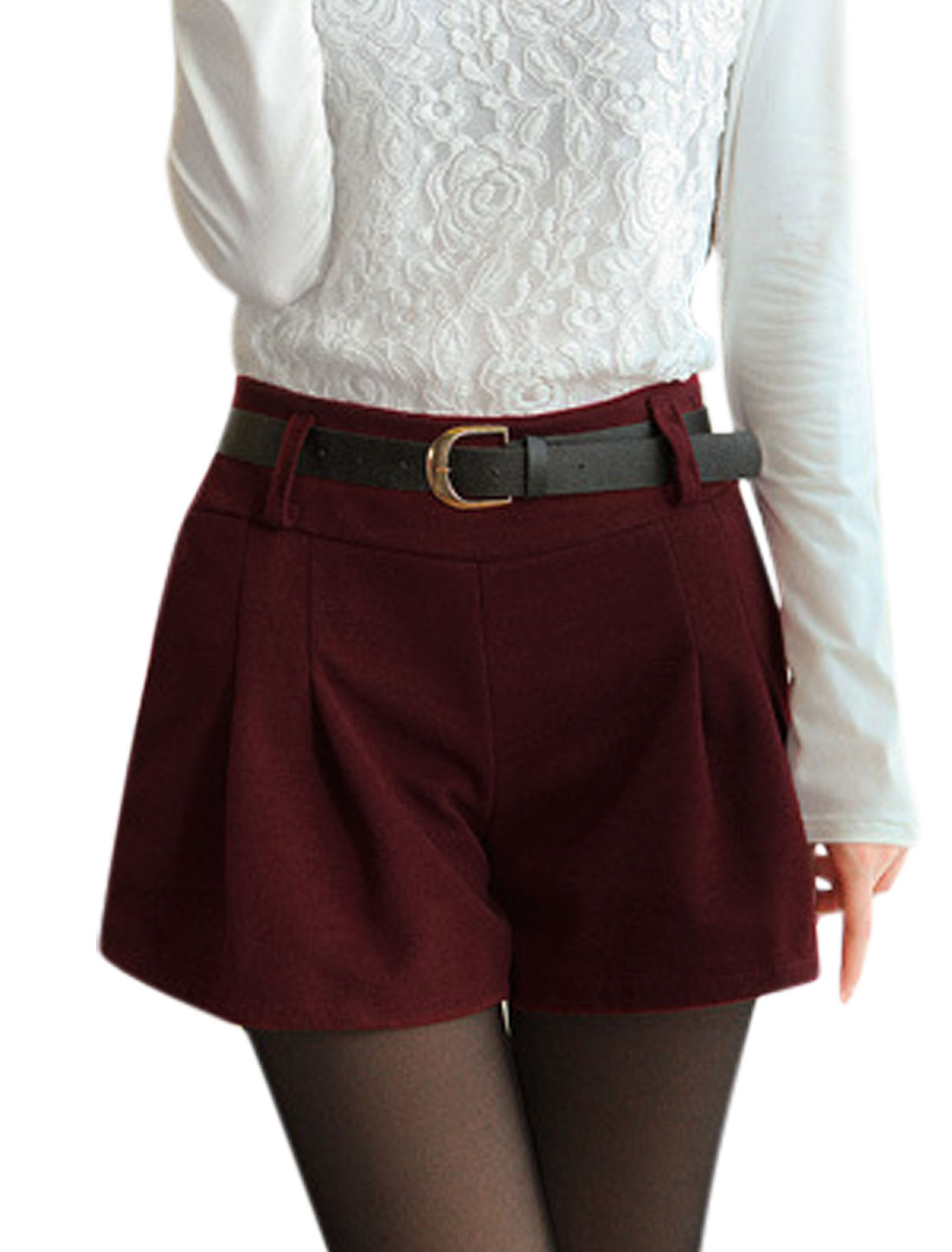 Ladies Ruched Design Natural Waist Burgundy Worsted Shorts S