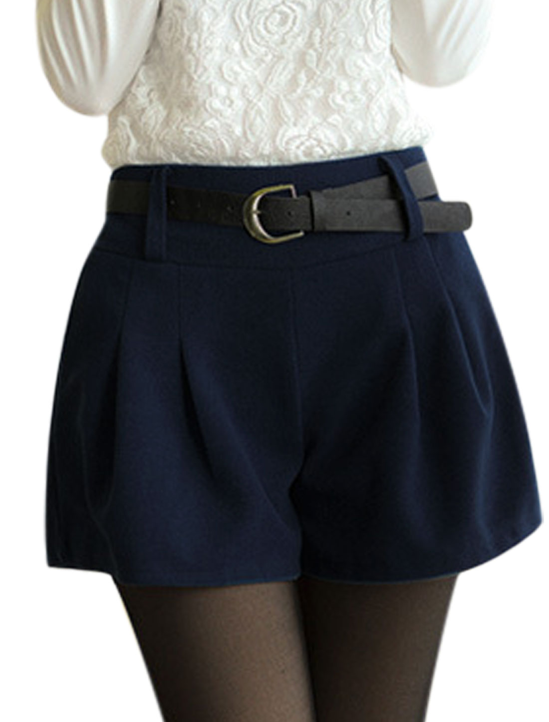 Women Ruched Design w Belt Casual Navy Blue Worsted Shorts S