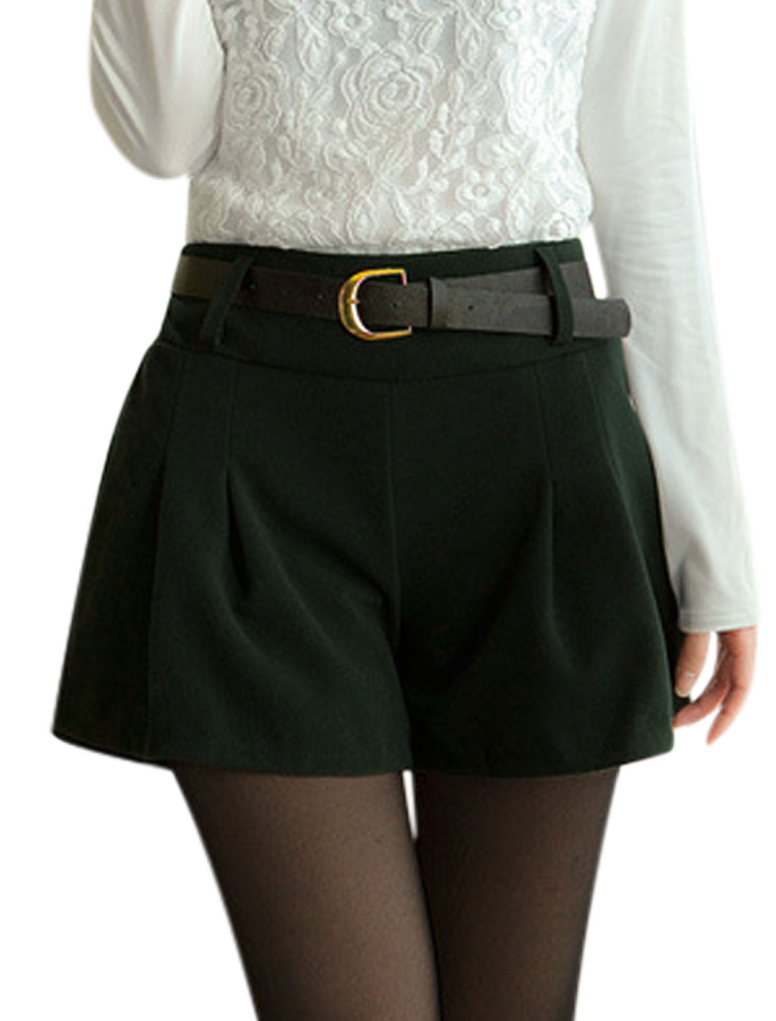 Fashion Design Natural Waist Dusty Green Worsted Shorts for Ladies S