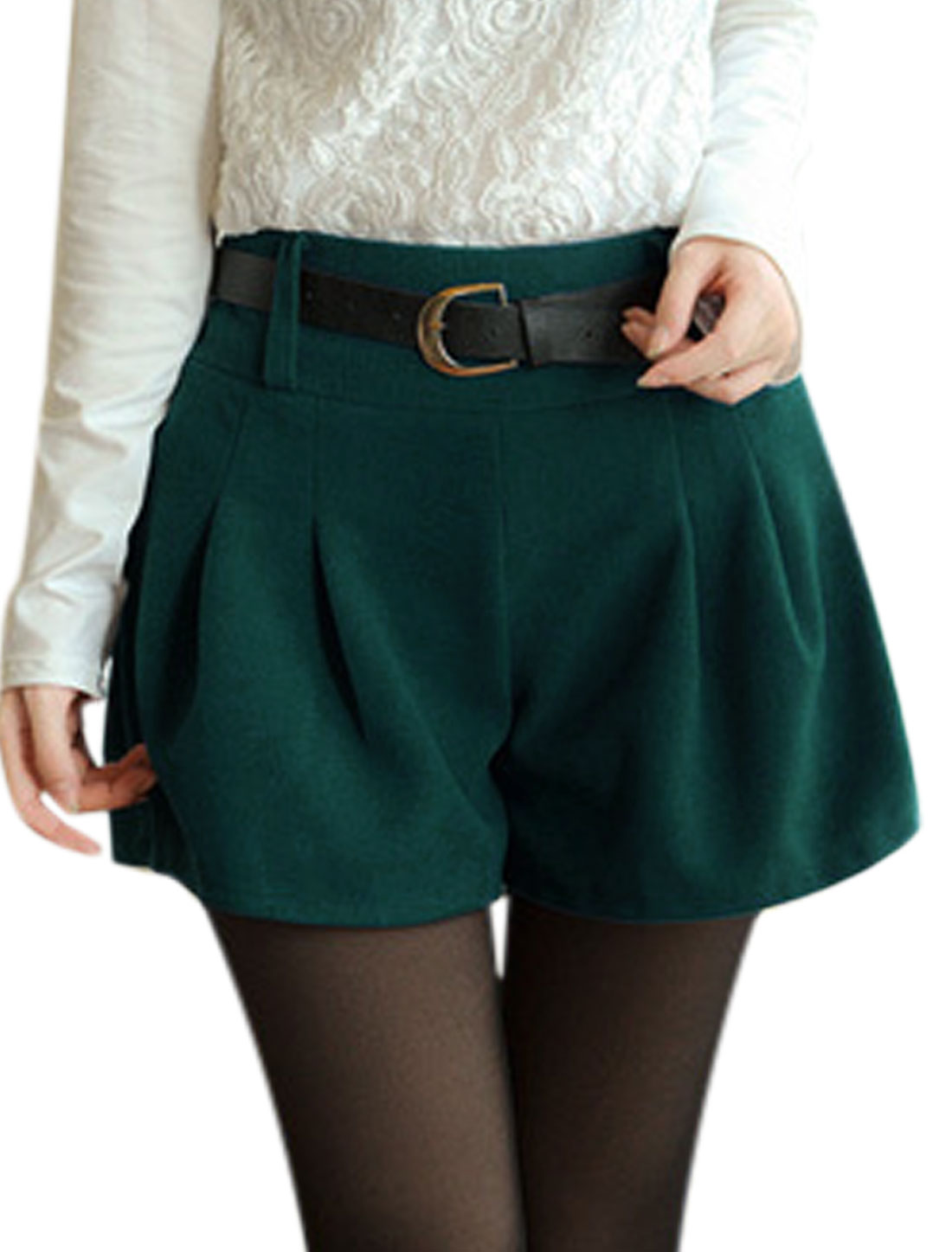 Stylish Natural Waist Design Peacock Blue Worsted Shorts for Women S