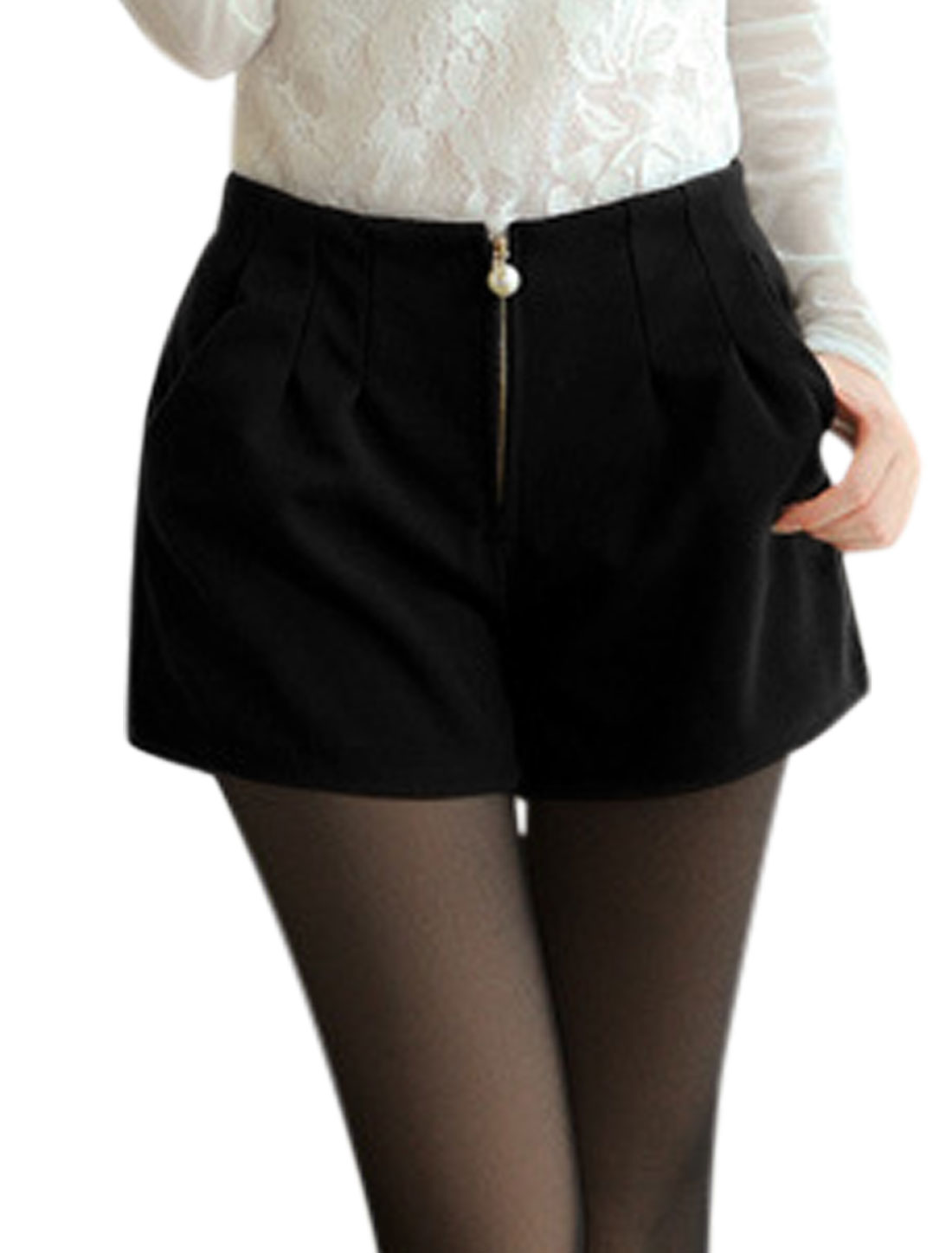 Women High Waist Design Zip Up Front Worsted Shorts Black S