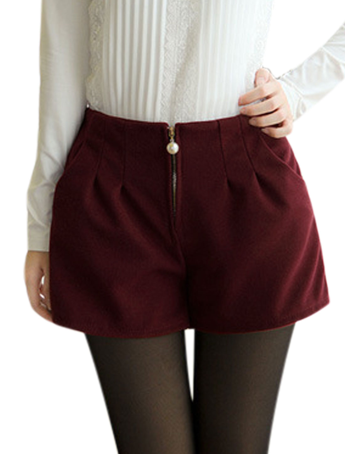 Ladies Elastic Waist Design Zip Fly Burgundy Worsted Shorts S