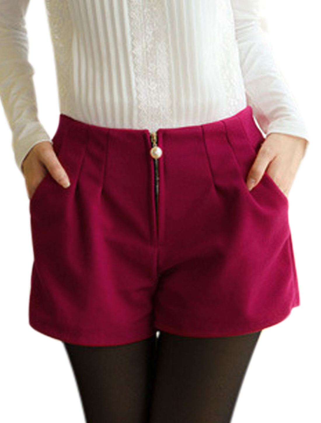 Stretchy Waist Pockets Sides Fuchsia Worsted Shorts for Lady S