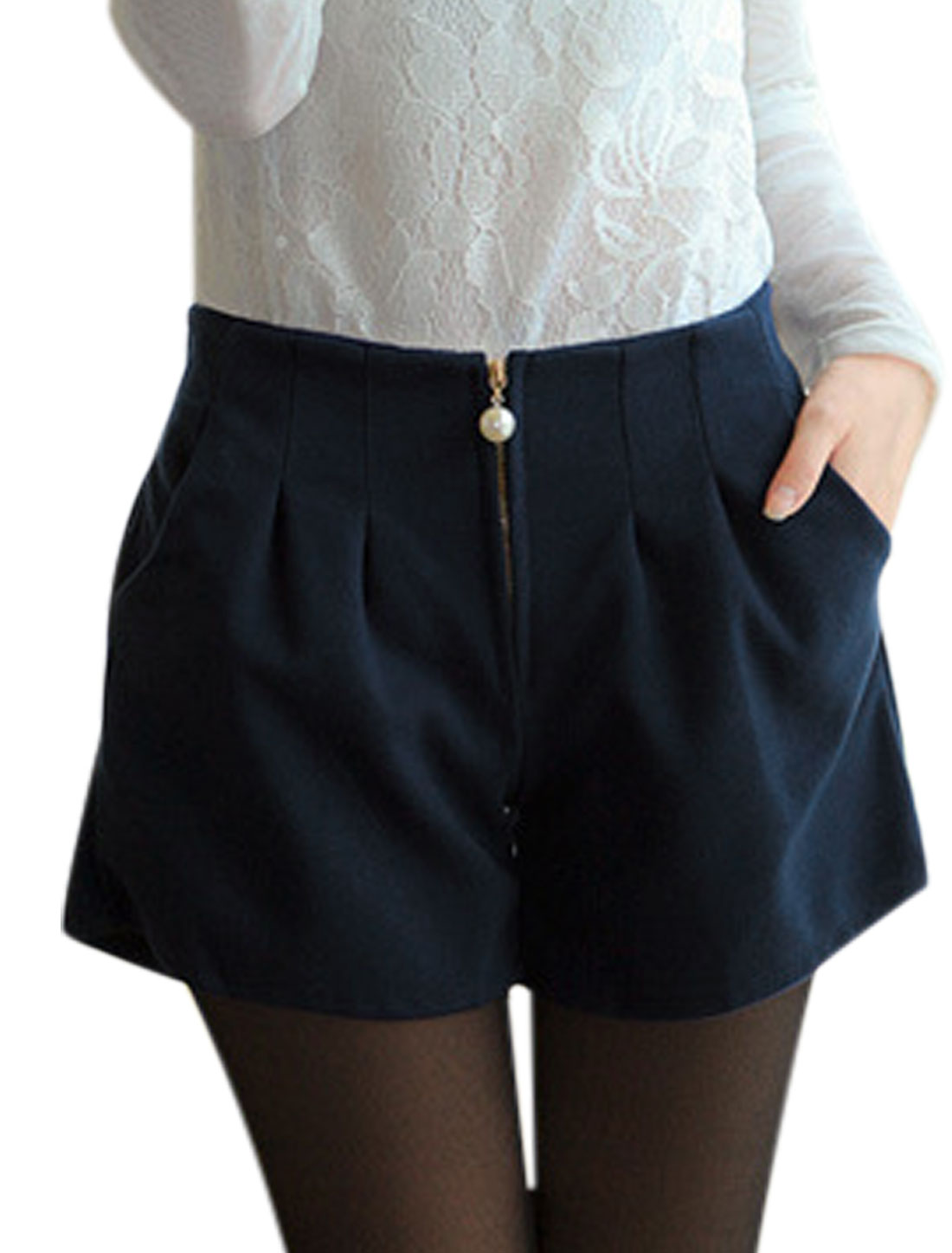 Zip Closed Double Pocket Navy Blue Worsted Shorts for Women S