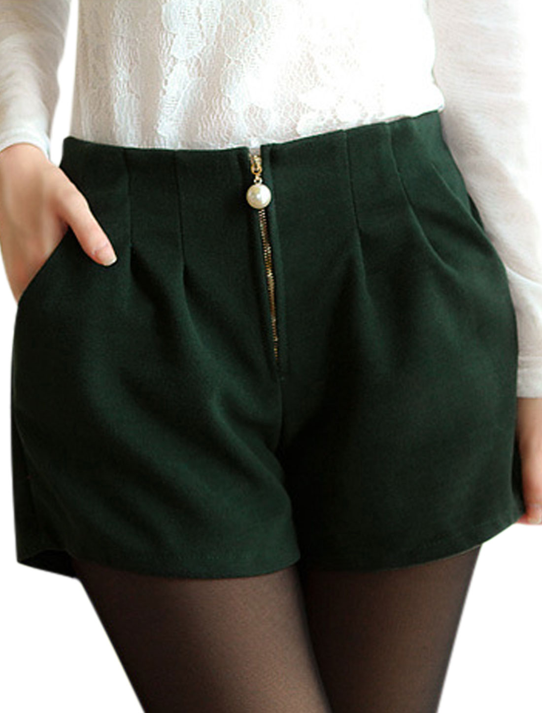 Pockets Sides High Waist Chic Dusty Green Worsted Shorts for Ladies S