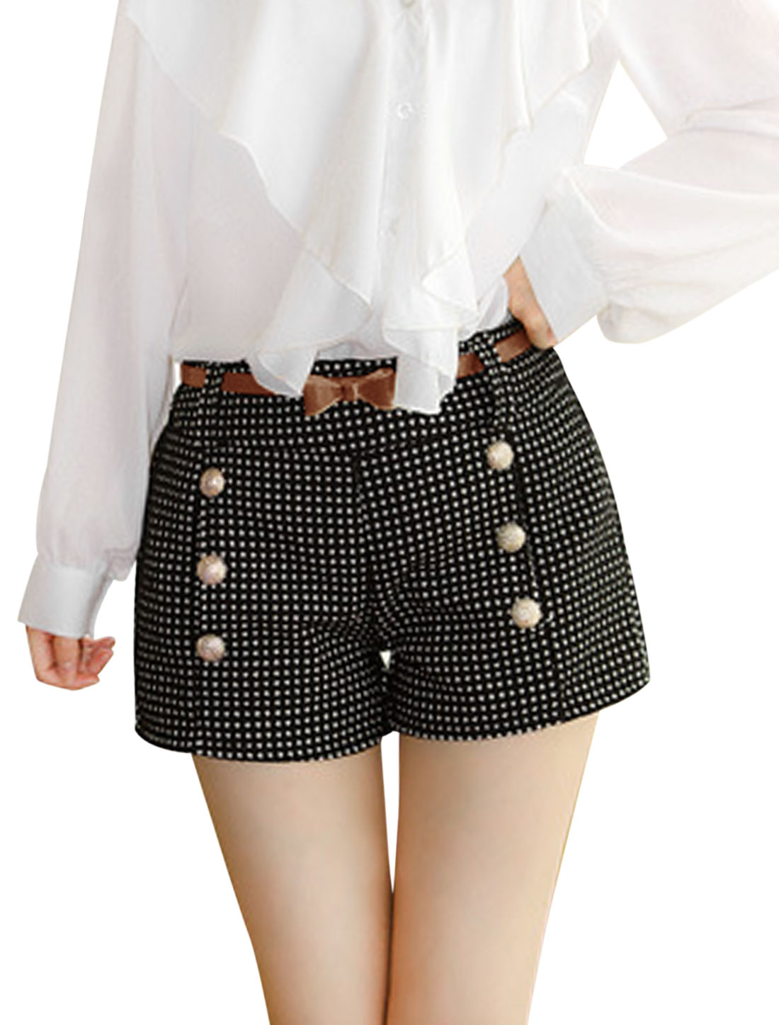 Women Buttons Decor Two Front Pockets Plaids Worsted Shorts w Belt Black S