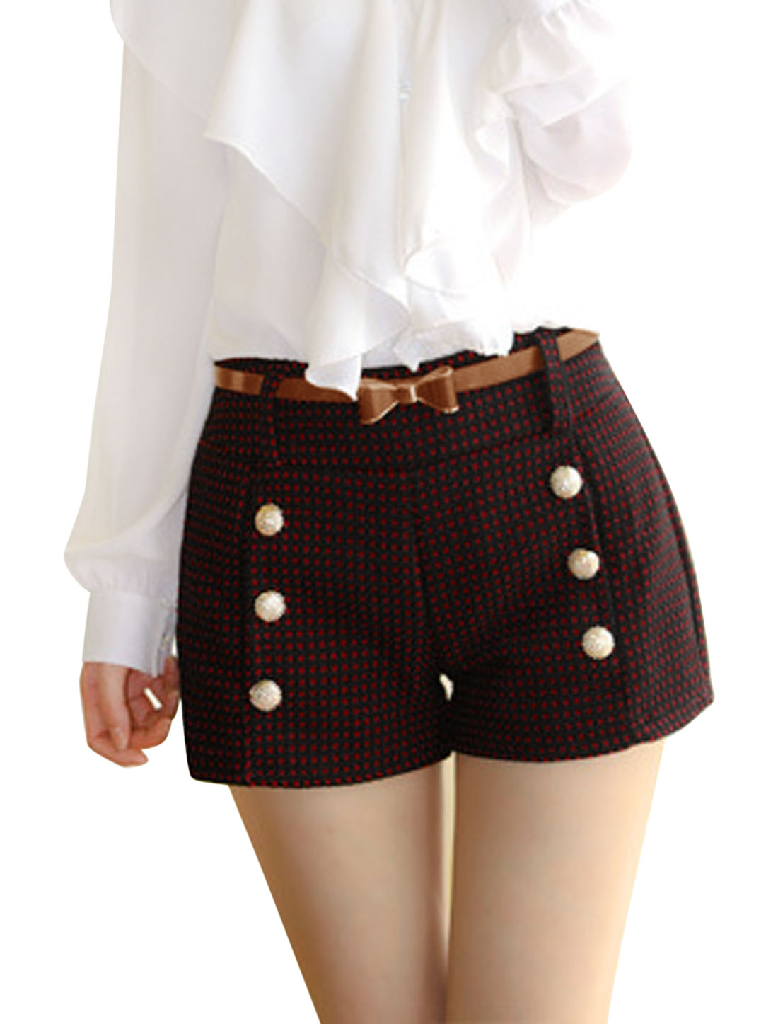 Women Buttons Decor Double Front Pockets Plaids Worsted Shorts w Belt Red S