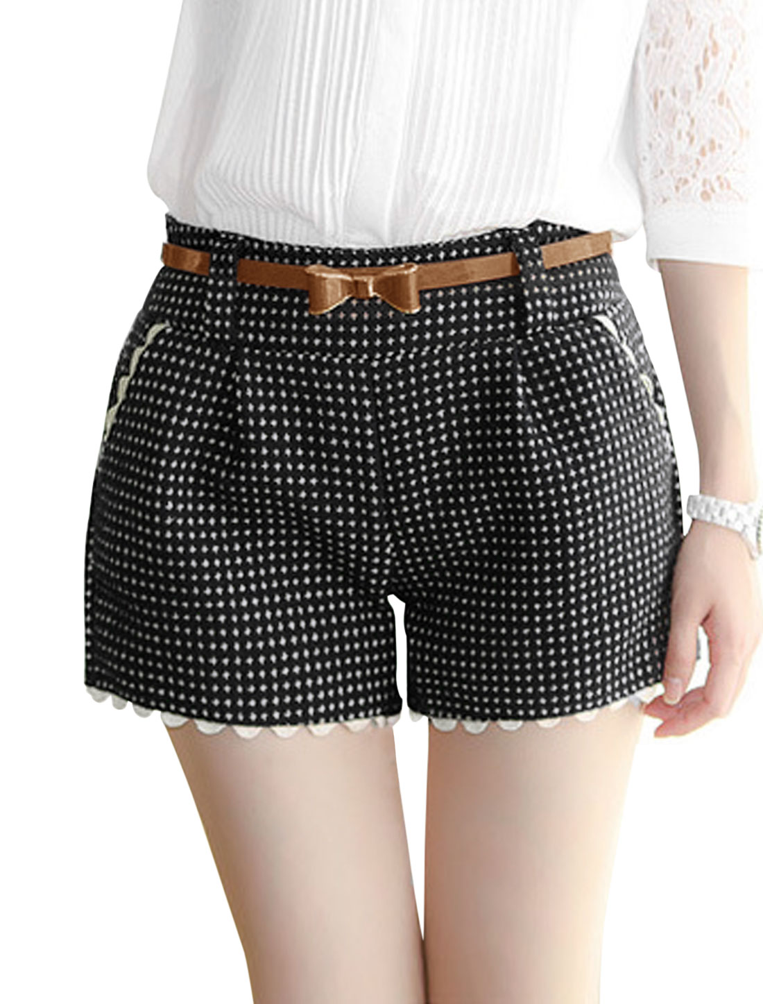 Women Crochet Detail Slant Pockets Plaids Worsted Shorts w Belt Black S