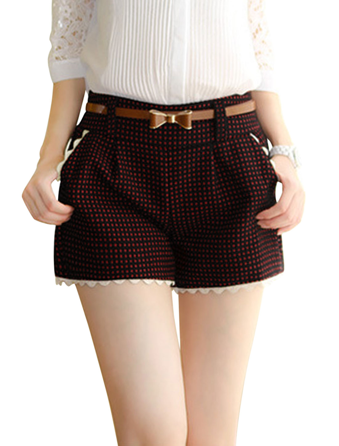 Women Stretchy Waist Slant Pockets Plaids Worsted Shorts w Belt Red S