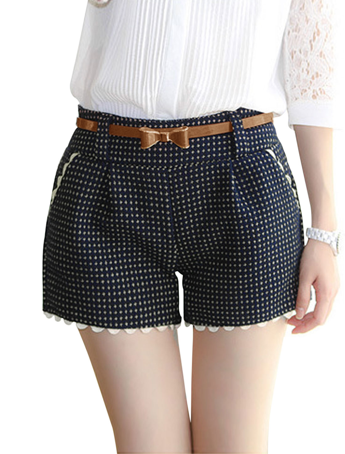 Women Two Slant Pockets Plaids Pattern Worsted Shorts w Belt Navy Blue S