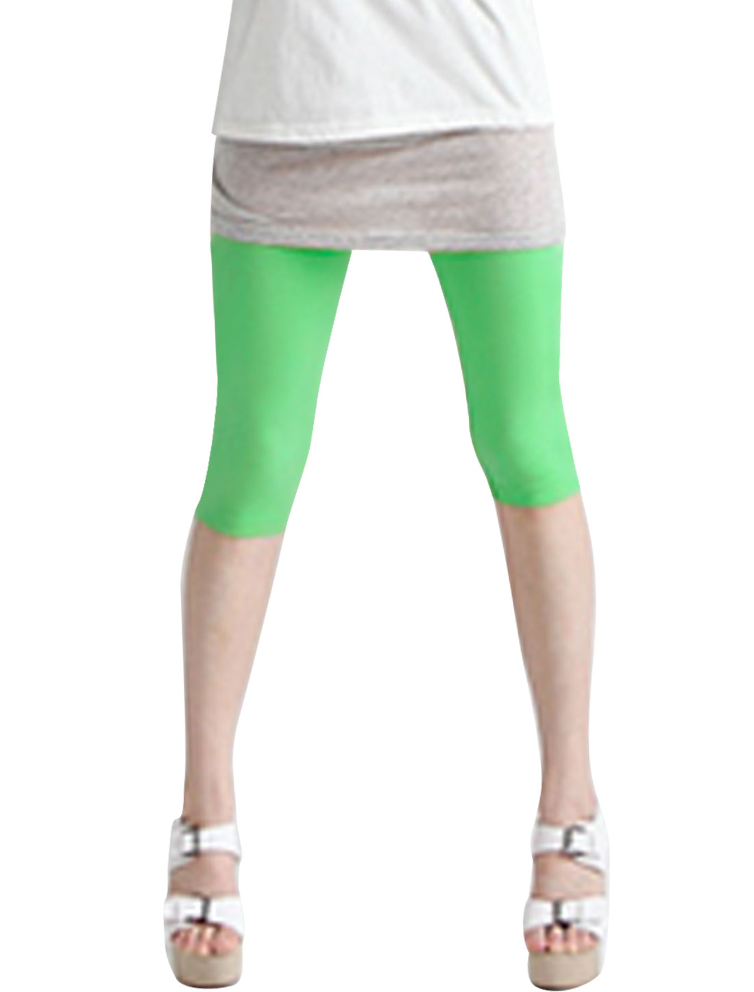Ladies Stretchy Waist Pure Design Summer Fit Capris Leggings Light Green XS