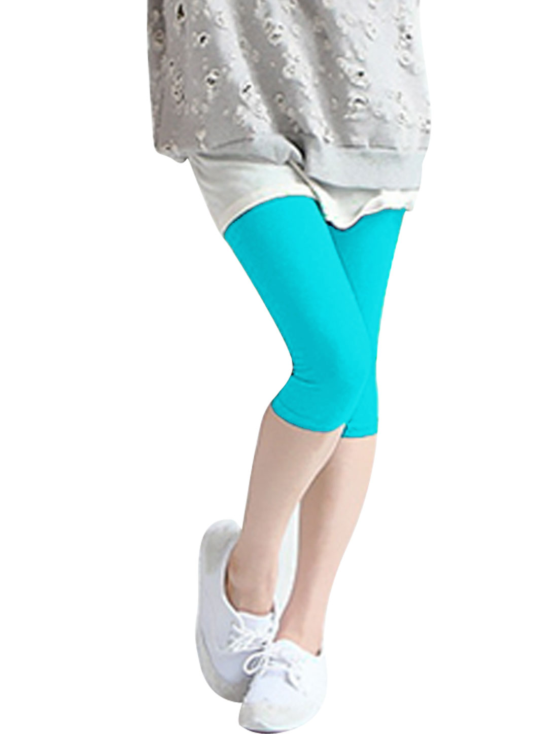Ladies Mid-Rise Pure Design Slim Fit Capris Leggings Light Blue XS