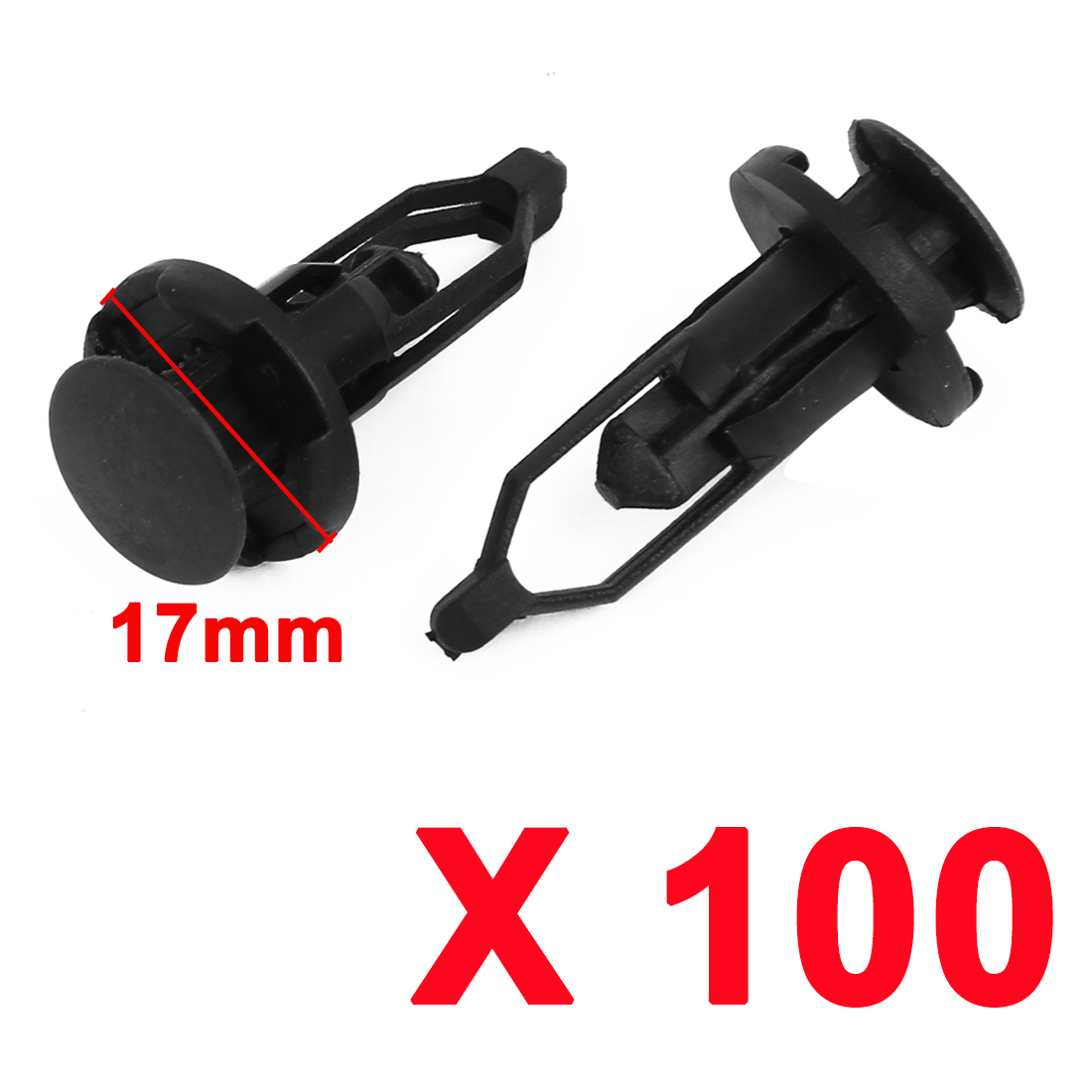 100 x 11mm Hole Plastic Rivets Fastener Push Clips Black for Car Auto Fender