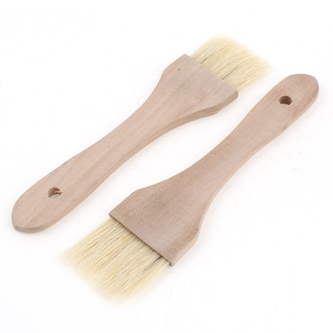 Outdoor 19cm Long Barbecue BBQ Wooden Handle Soft Brush 2 Pcs