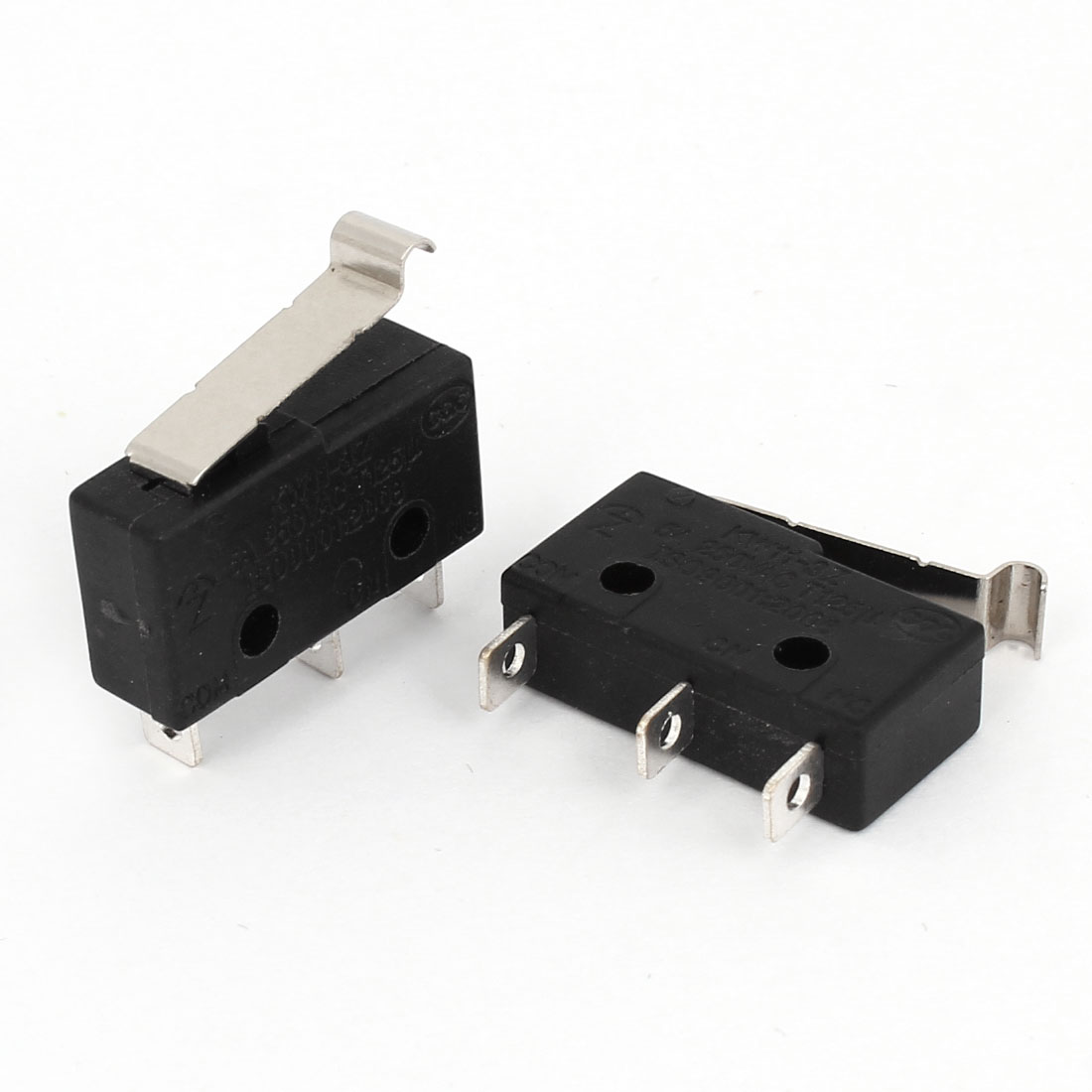 2Pcs Micro Limit Switch AC250V 5A 3 Pins Miniature SPDT Momentary Short Hinge Lever Snap Action LOT