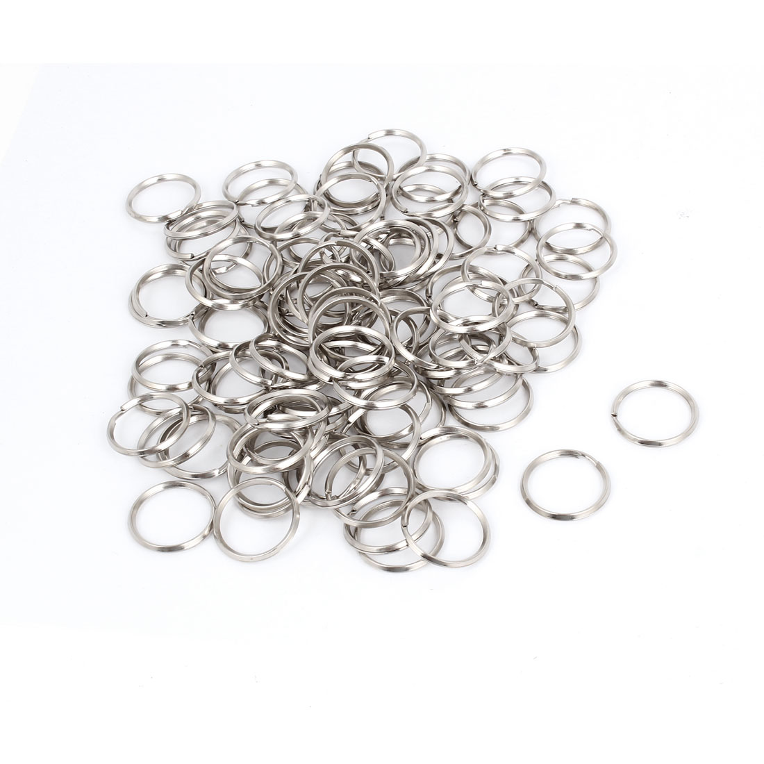 100 Pcs Silver Tone Metal 23mm OD Split Key Rings Keychains