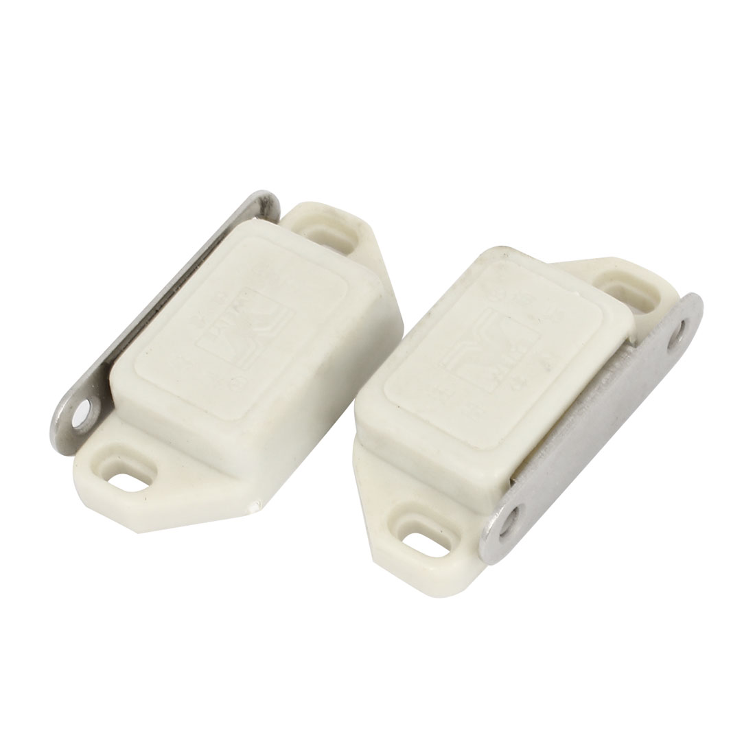 "Cupboard Door Plastic Shell Magnetic Catch Latch 2.2"" Length 2PCS"