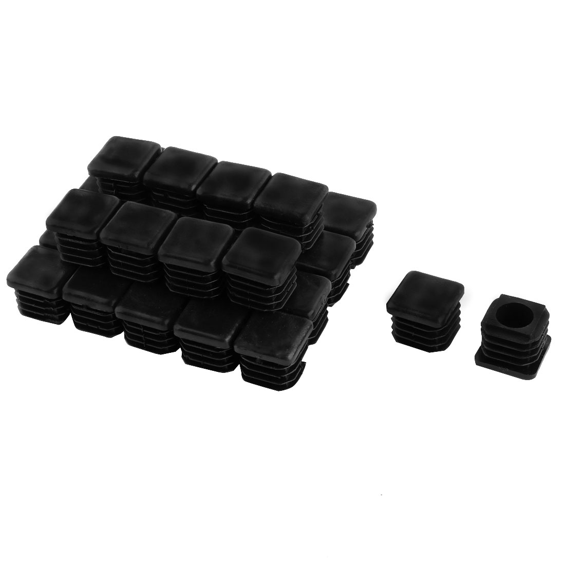 30 Pieces Black Plastic Square Blanking End Caps Tubing Tube Inserts 19mm x 19mm