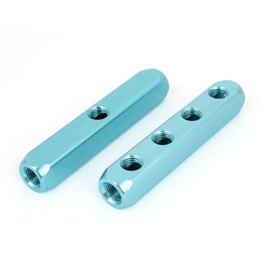 1/4PT Thread 7 Ports Quick Connector Air Hose Manifold Block Splitter Sky Blue 2pcs