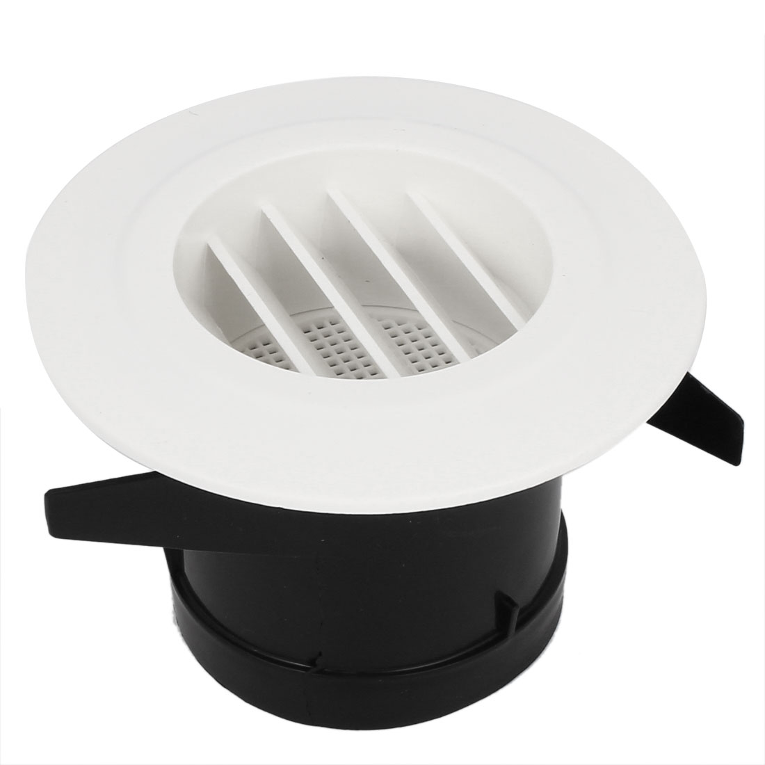 Black White Plastic 75mm Outer Dia Bottom Oblique Style Air Grilles Diffuser Vent Valve for Bathroom Kitchen