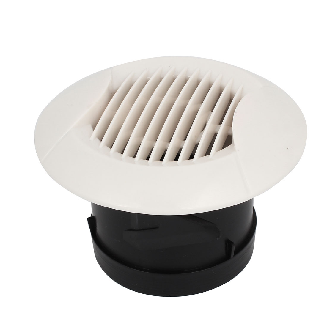 Black White Plastic Straight 75mm Outer Dia Bottom Air Grilles Diffusers Vent Valve for Bathroom Kitchen