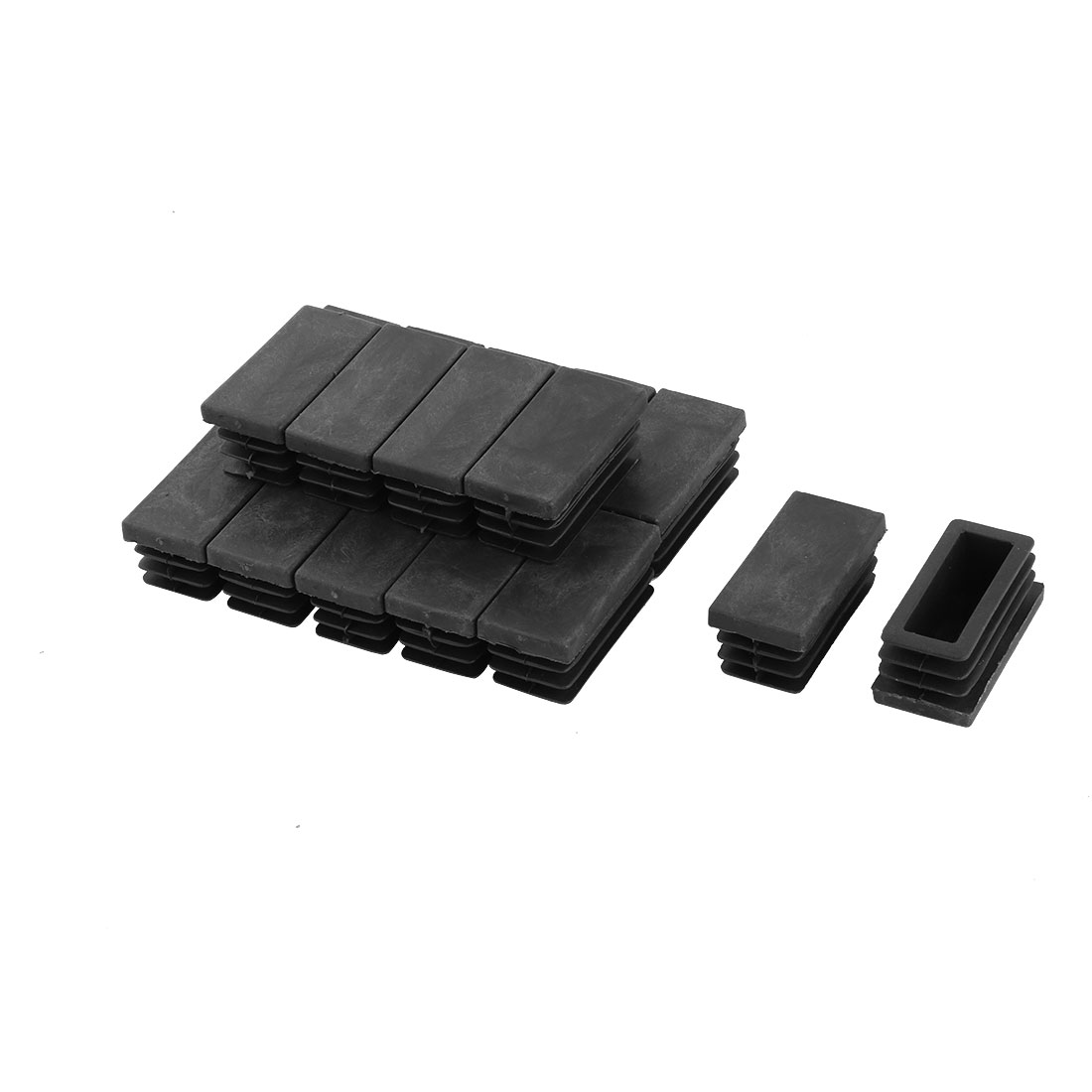 20 Pieces Black Plastic Rectangular Blanking End Caps Tubing Pipe Inserts 20mm x 40mm