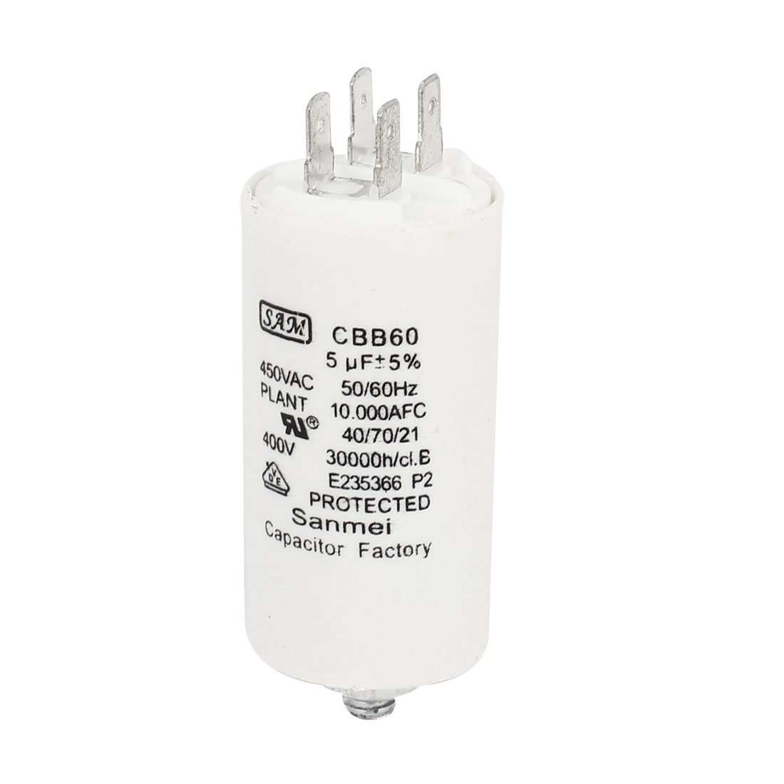 Household Washers Non Polar Motor Running Capacitor White 5UF AC450V CBB60