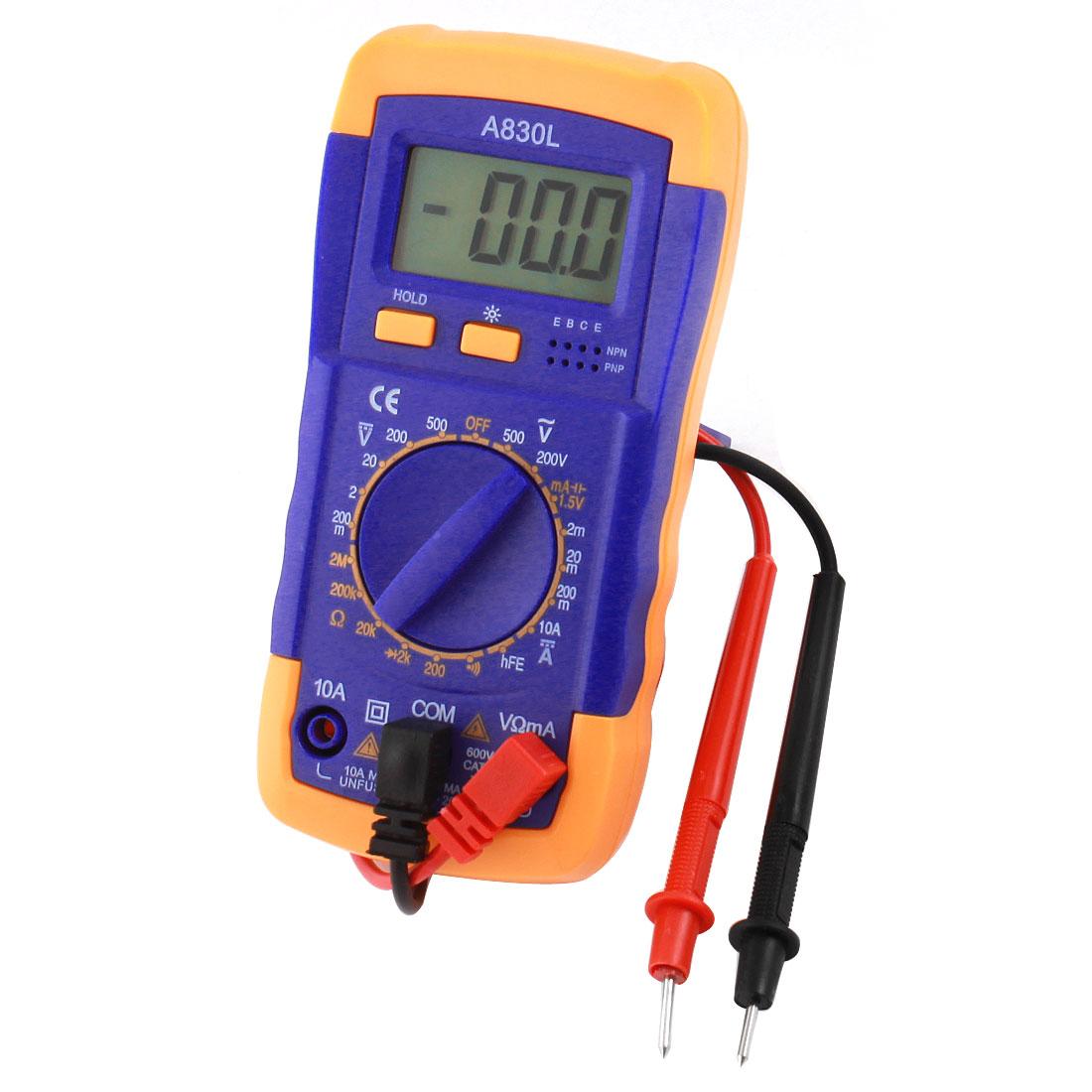 A830L AC/DC Voltage Current Resistance Digital Tester Multimeter Multitester