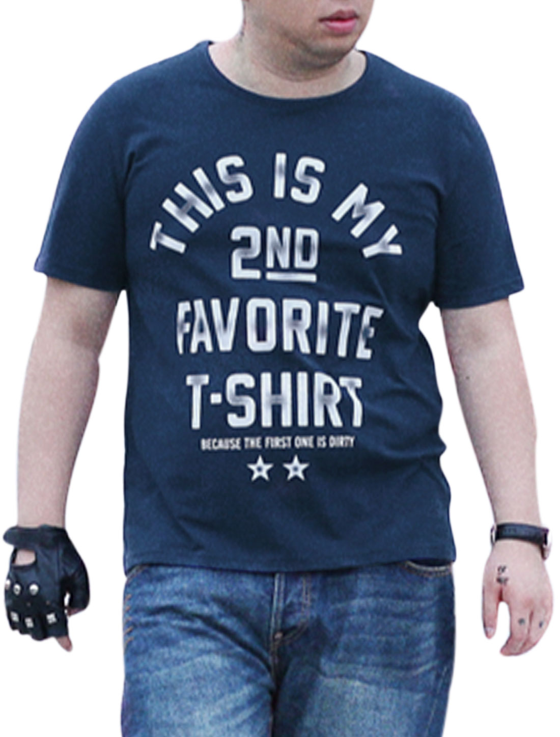 Men Short Sleeves Letters Stars Print Fashion Tee Top Navy Blue XL