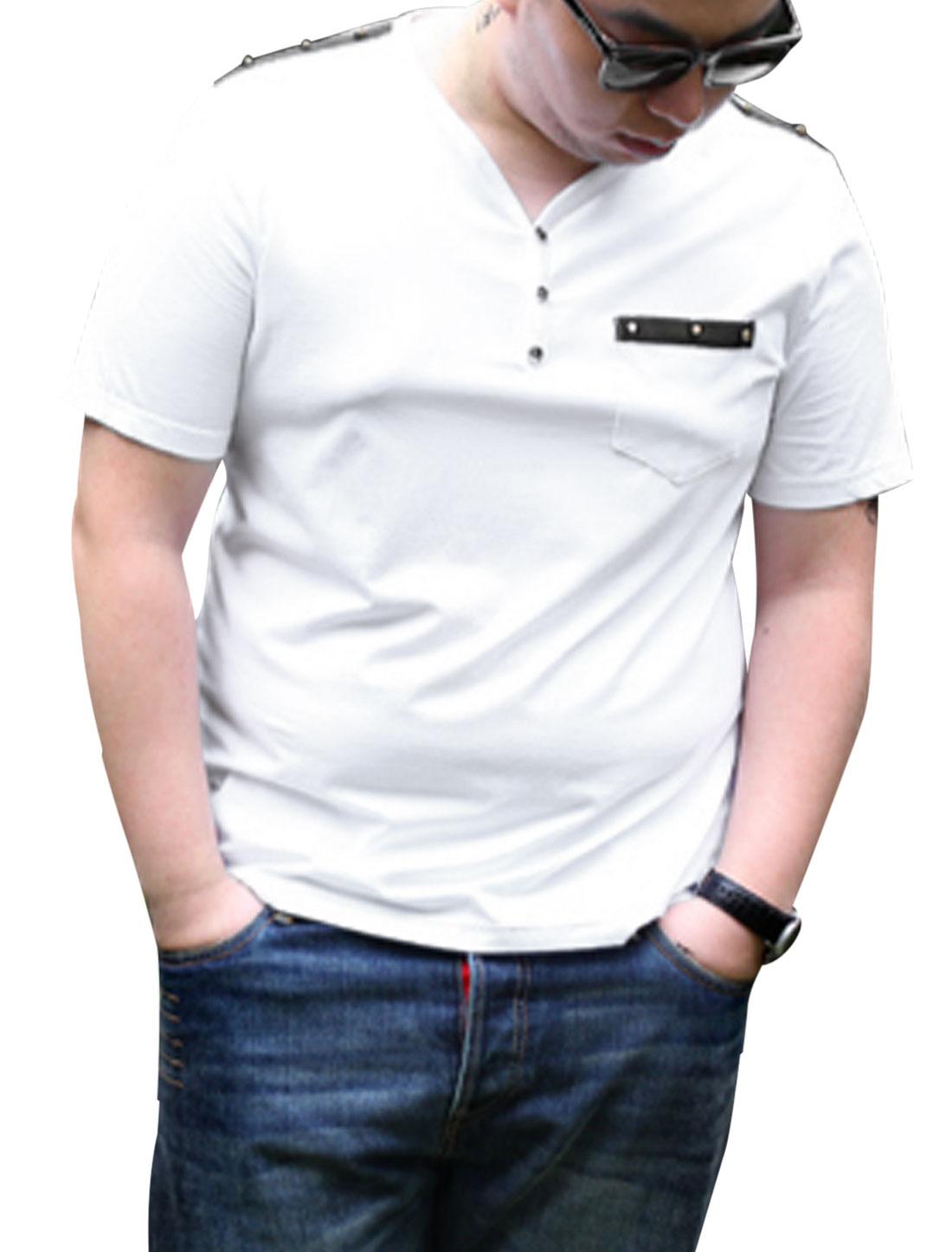 Men Big-Tall Y Neck Studded Decor Striped Lined Detail Fashion T-Shirt White 2X Big