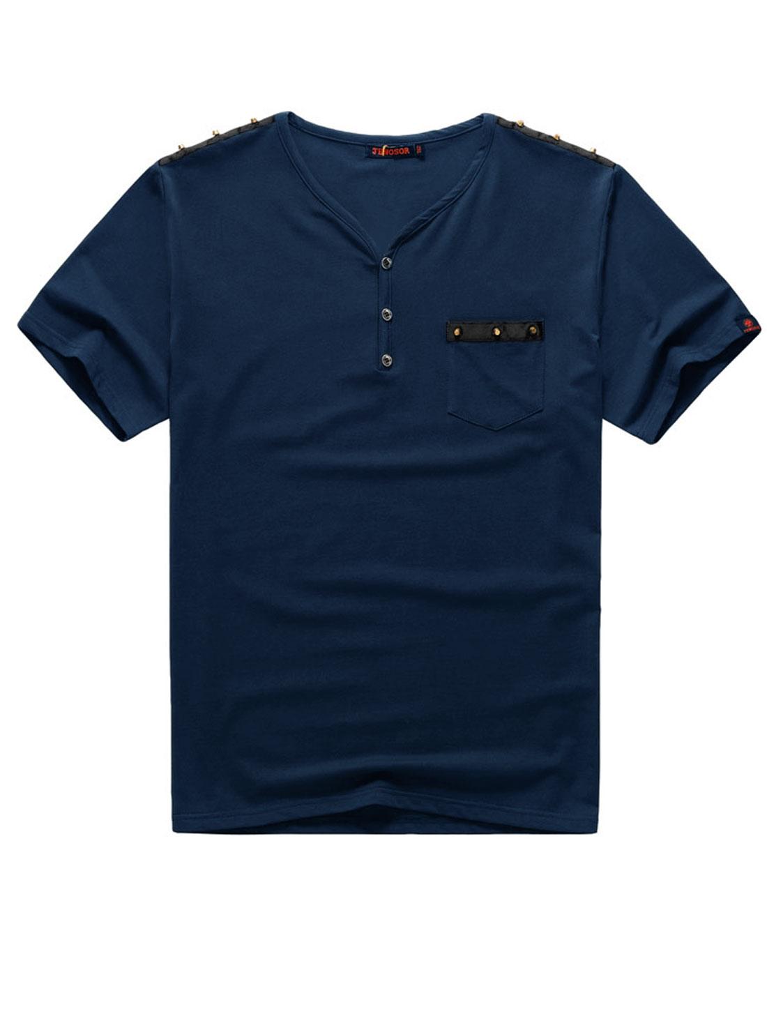 Men Big-Tall Y Neck Studded Decor One Chest Pocket Fashion T-Shirt Navy Blue 2X Big