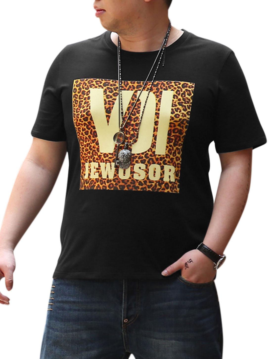 Men Leopard Letters Prints Short Sleeve Casual T-shirt Black XL