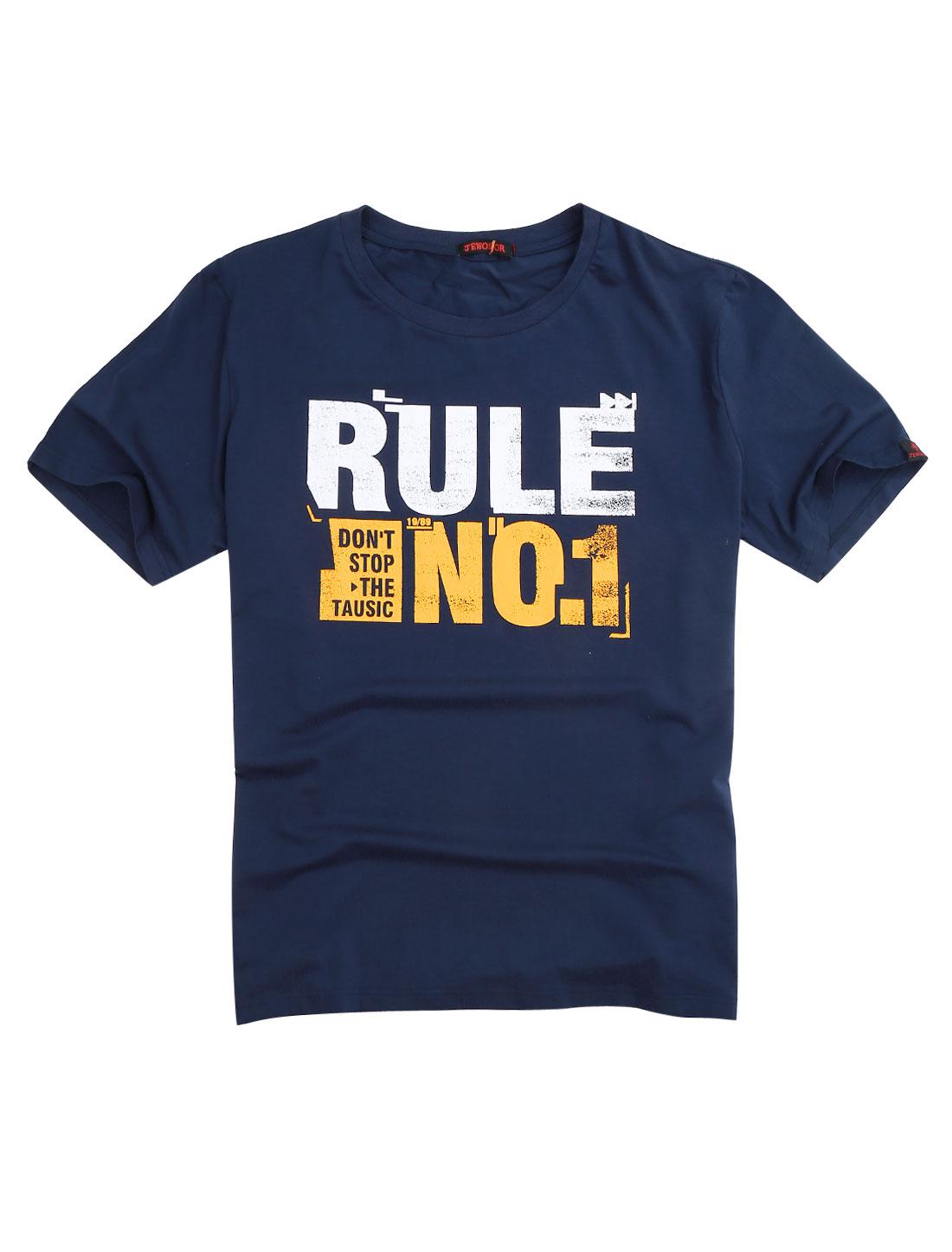 Men Round Neck Letters Prints Fashion Casual T-shirt Navy Blue XL