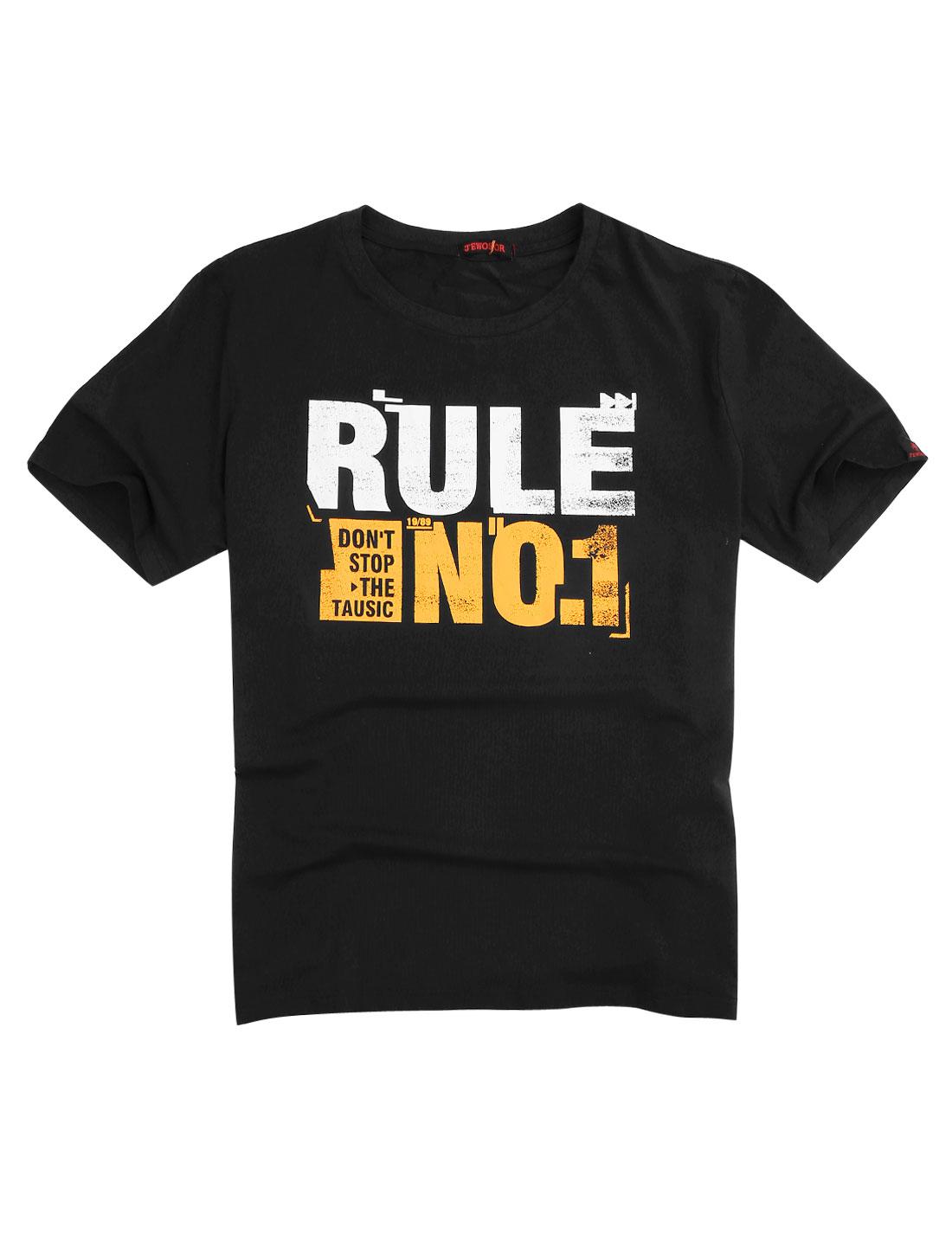 Men Pullover Round Neck Leisure Big-Tall Soft T-shirt Black 2X Big