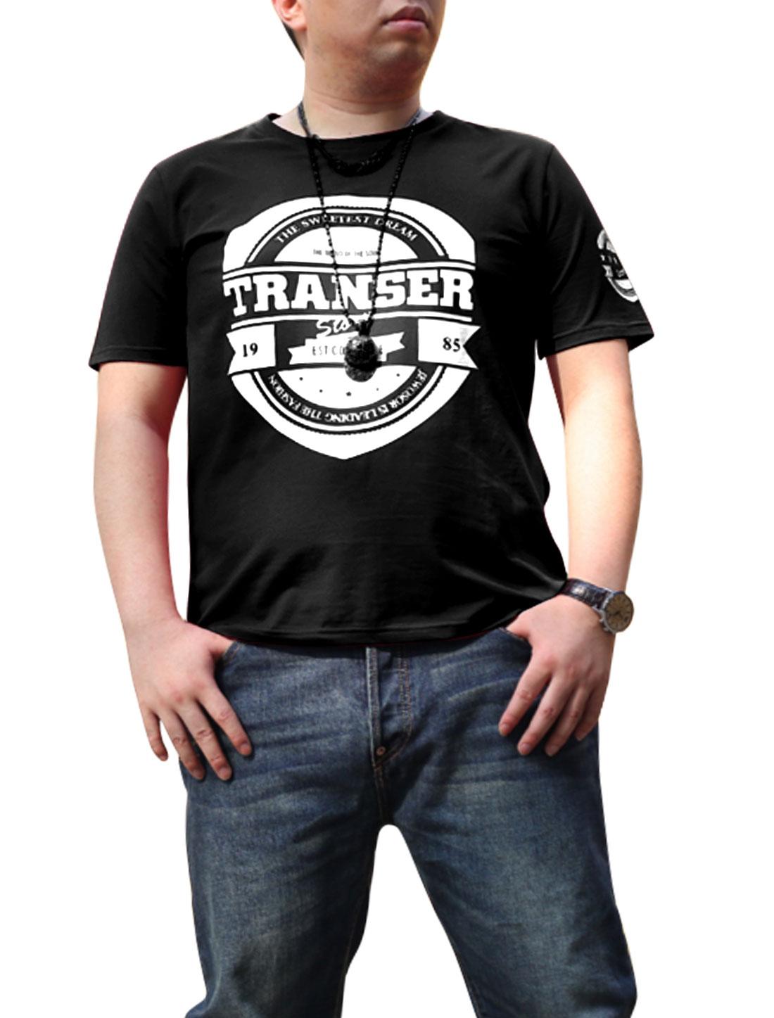 Men Short Sleeves Letters Print Fashion Tee Shirt Black XL