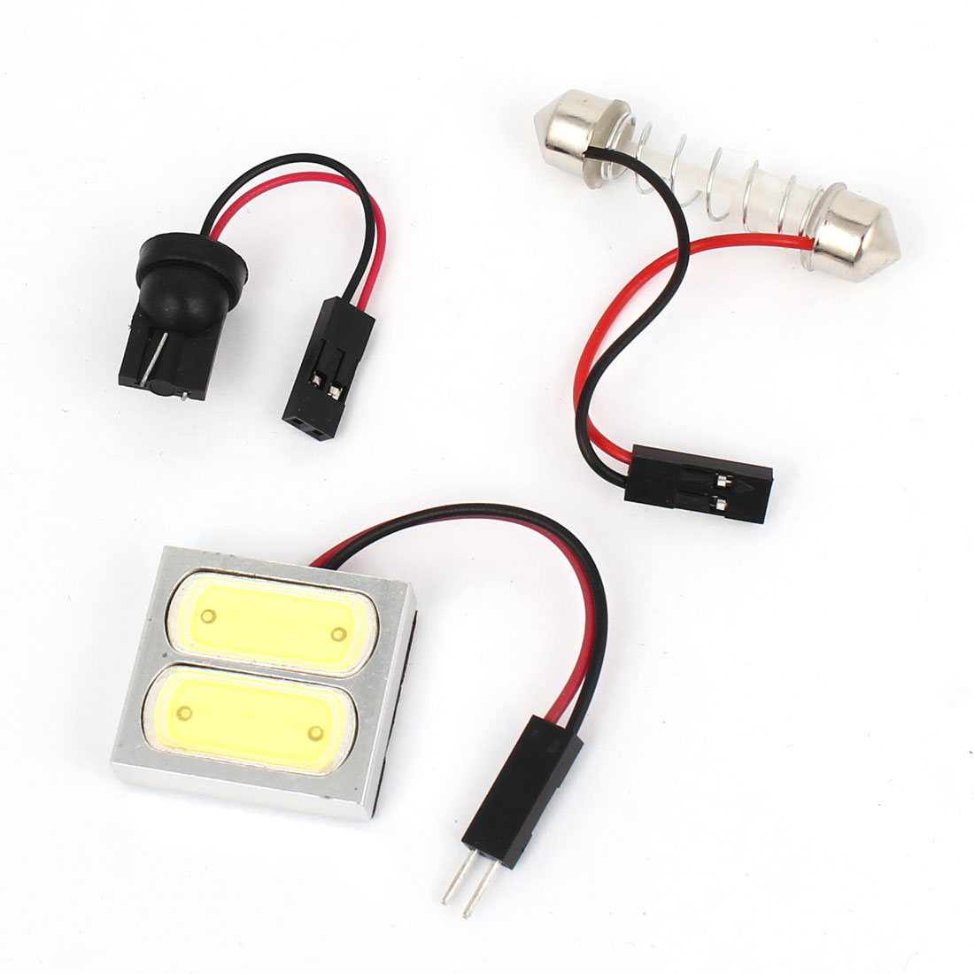 DC 12V 3W Car Interior White 2 LED Roof Dome Light T10 Festoon Adapter Internal
