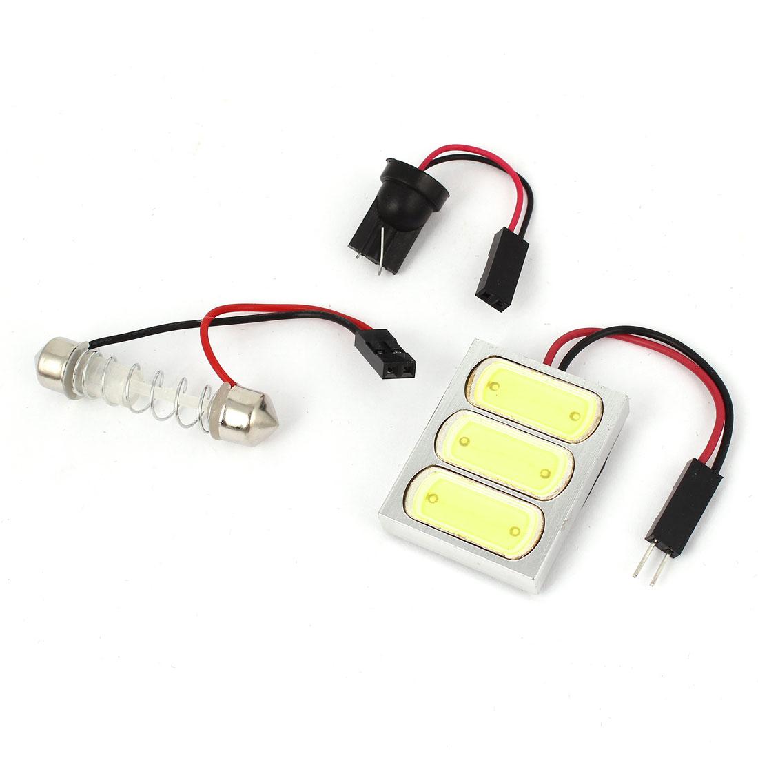 4.5W Car White LED Light Bulb Lamp w T10 Spring Festoon Adapter Internal